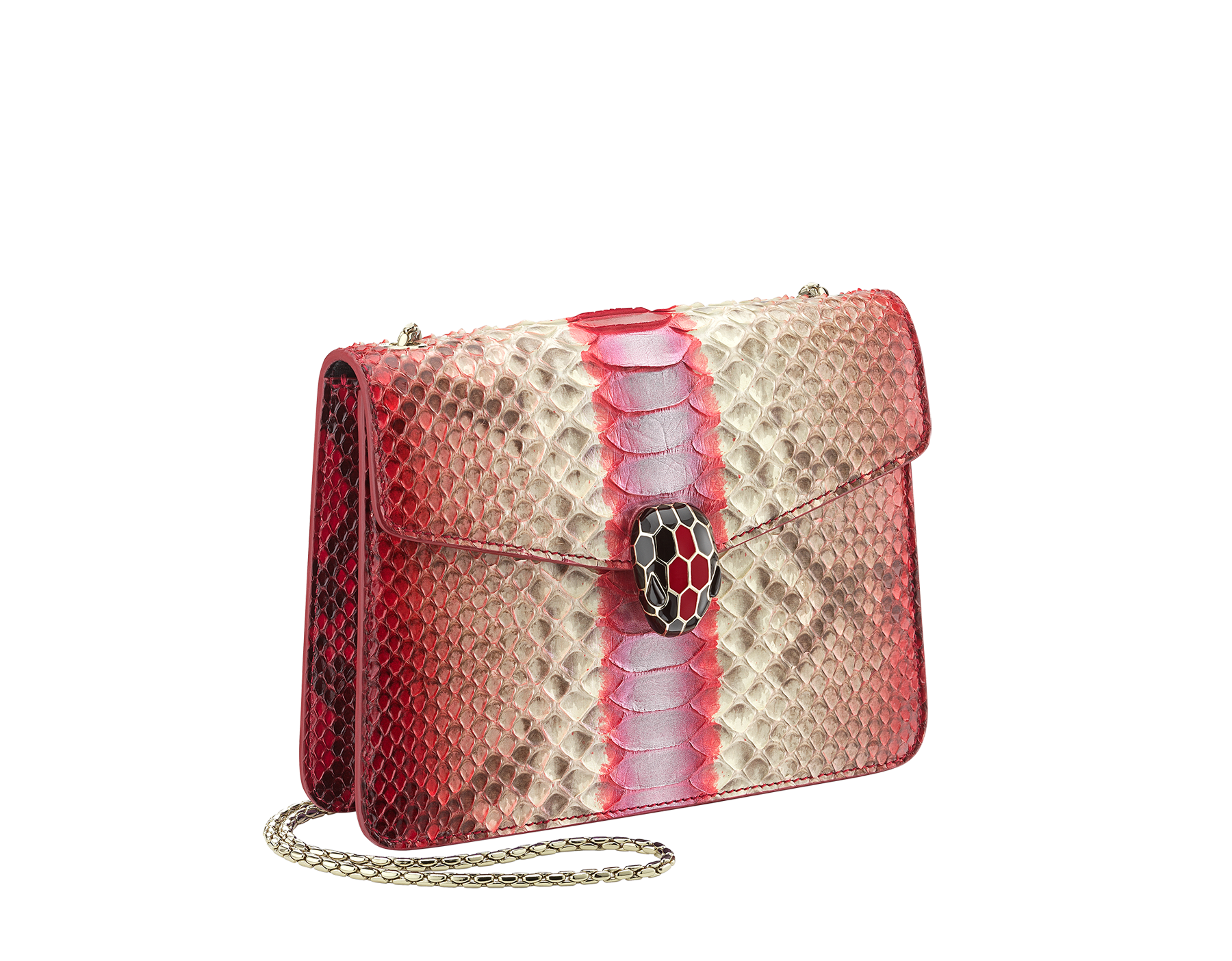 """Serpenti Forever"" crossbody bag in multicolour ""Magic Chromaline"" python skin. Iconic snakehead closure in light gold plated brass enriched with black and white enamel and black onyx eyes. 422-Pc image 2"