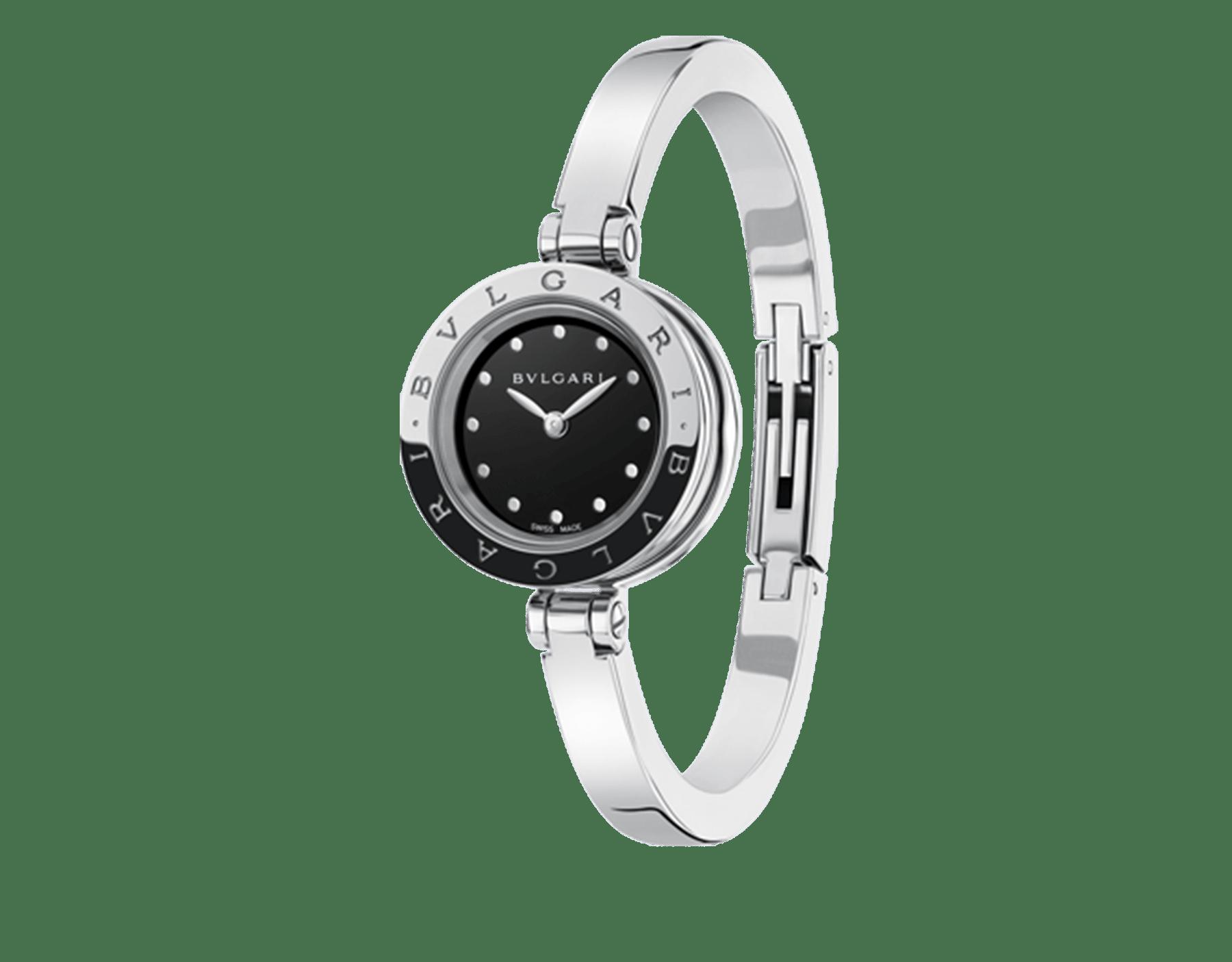 B.zero1 Uhr mit Gehäuse und Armreif aus Edelstahl sowie einem schwarz lackierten Zifferblatt. Mittelgroßes Modell 102319 image 1