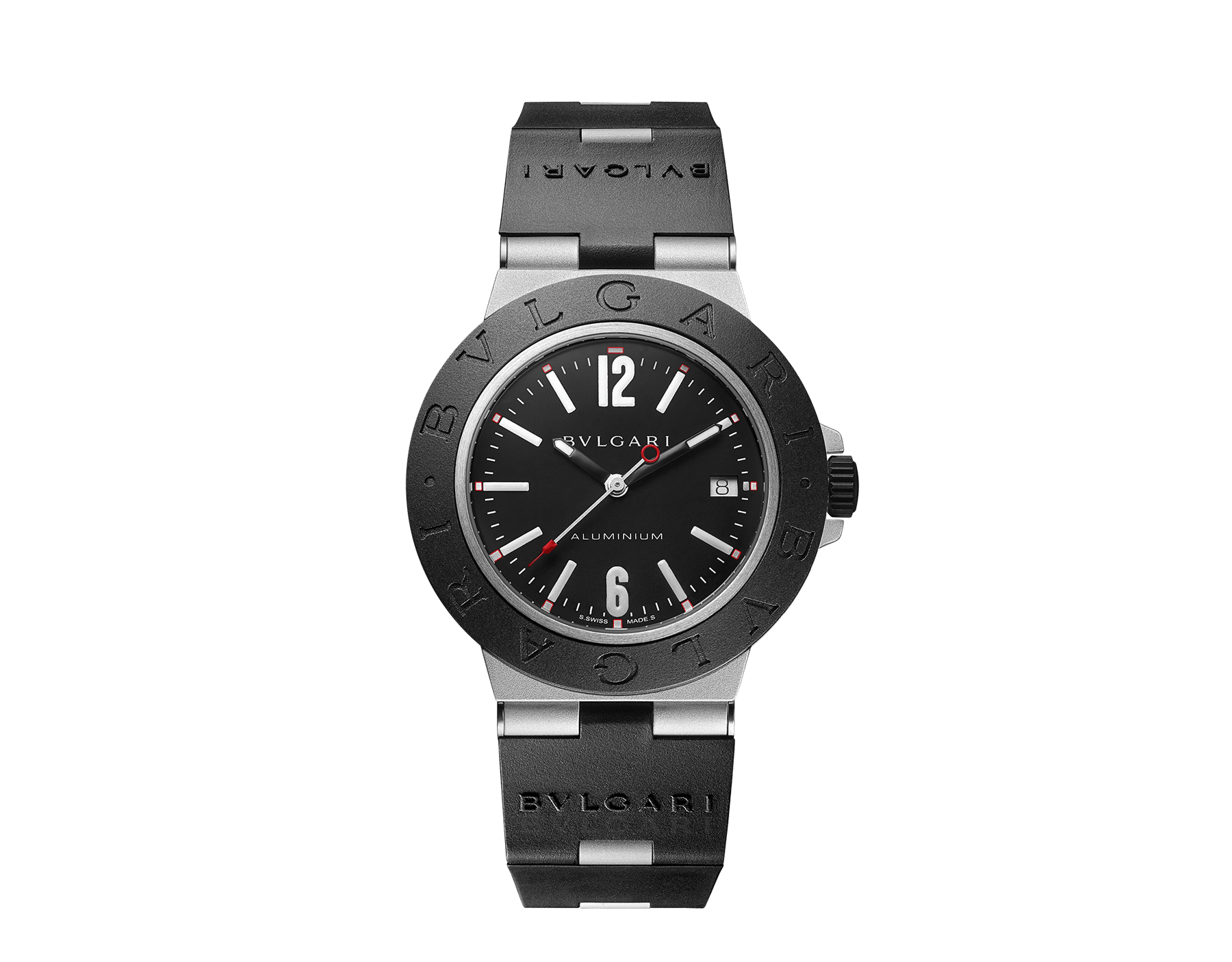 Bvlgari Aluminium watch with mechanical manufacture movement, automatic winding, 40 mm aluminium and titanium case, black rubber bezel with BVLGARI BVLGARI engraving, black dial and black rubber bracelet. Water resistant up to 100 metres 103445 image 1