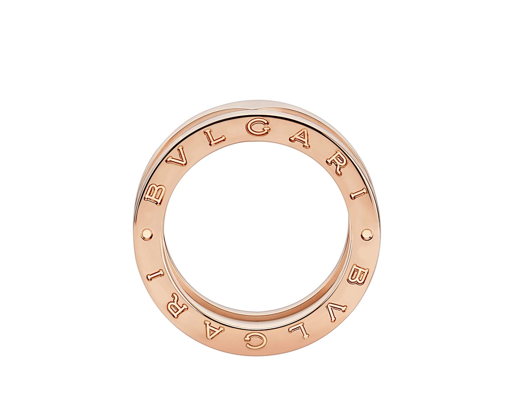 B.zero1 two-band ring with two 18 kt rose gold loops and a white ceramic spiral. B-zero1-2-bands-AN855964 image 2