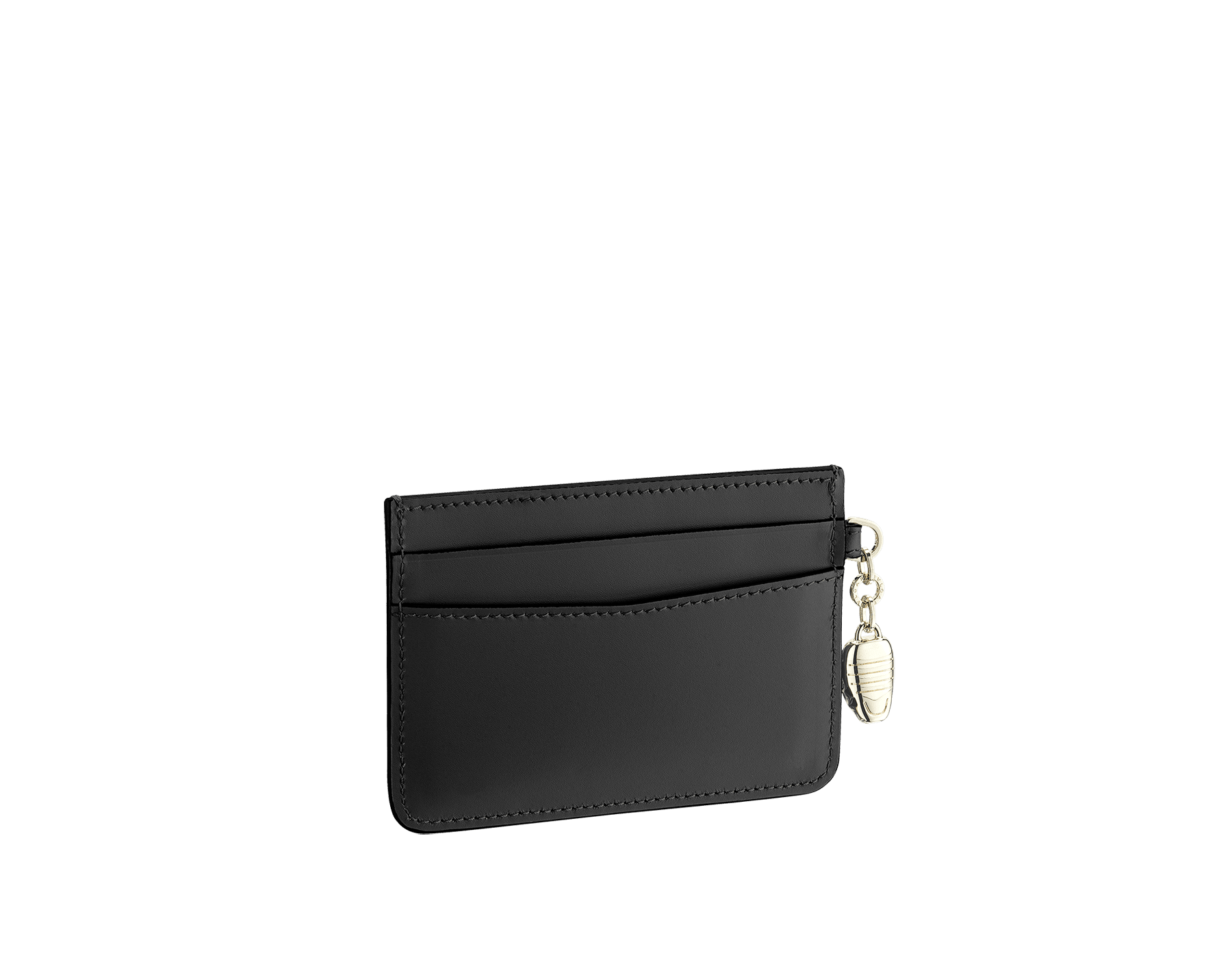 """Serpenti Forever"" card holder in black calf leather. Iconic snakehead charm in black and white agate enamel with emerald green enamel eyes. 282018 image 2"