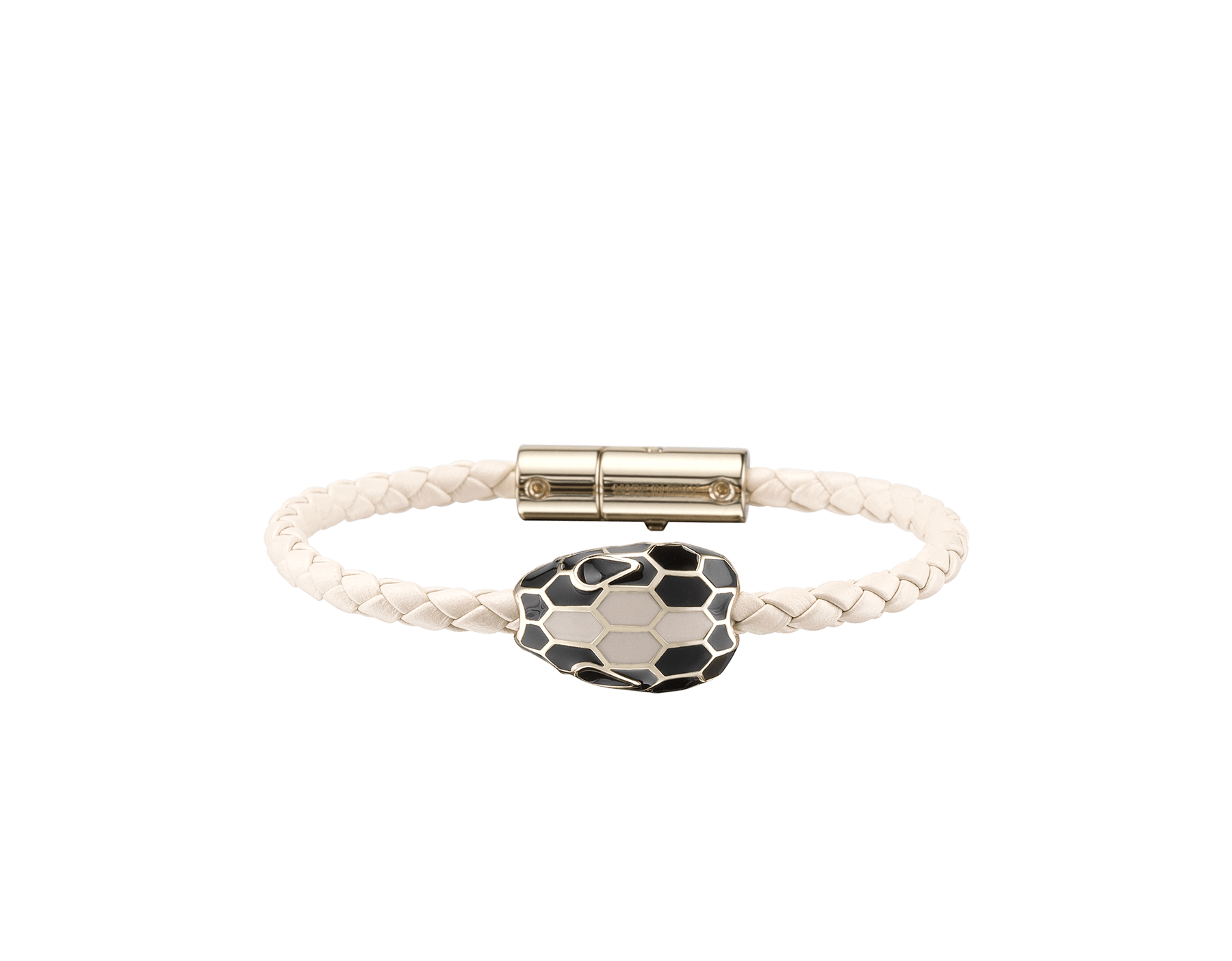 Serpenti Forever braid bracelet in milky opal woven calf leather with an iconic snakehead décor in black and milky opal enamel. SerpBraid-WCL-MO image 1