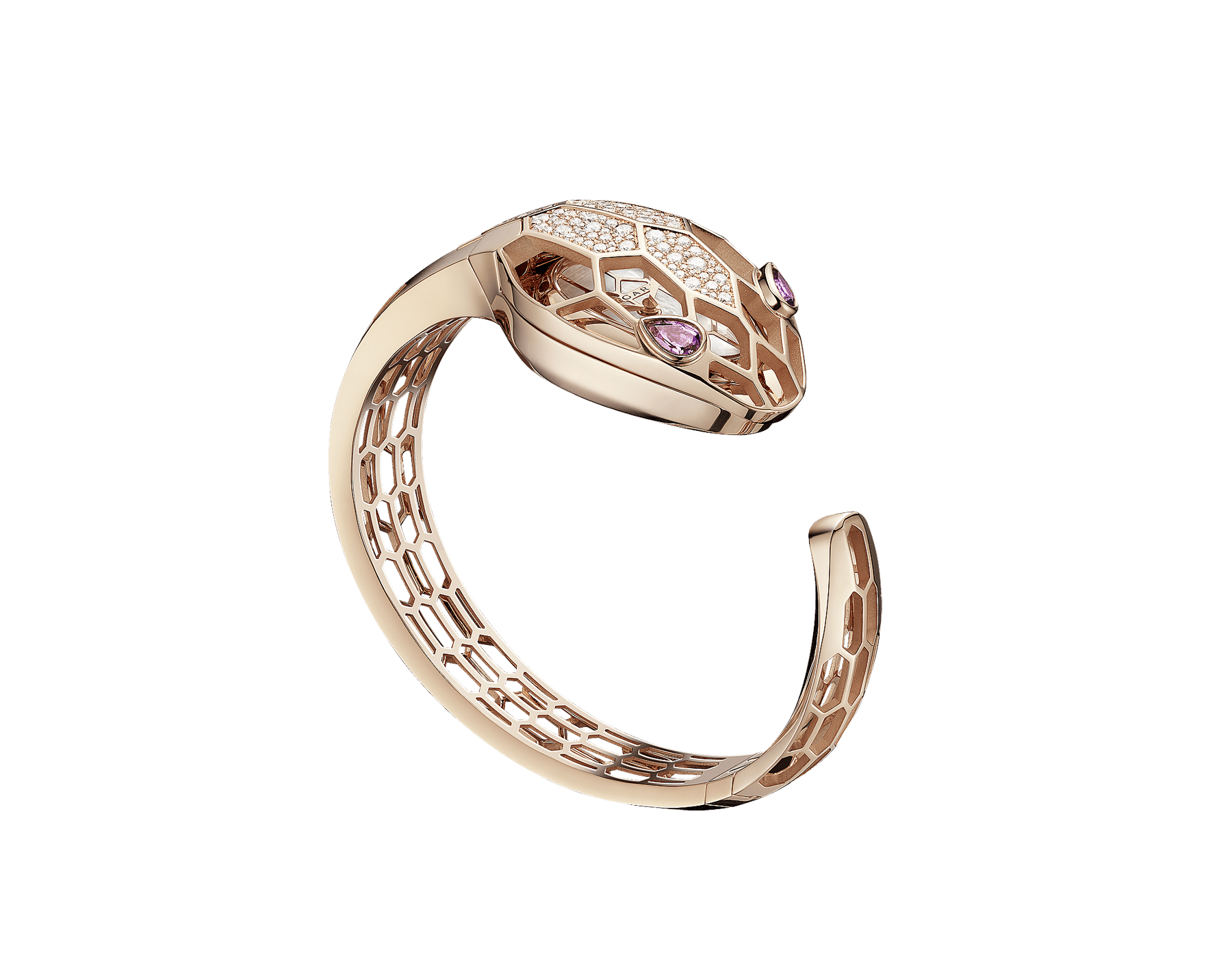 Serpenti Misteriosi Secret Watch with 18 kt rose gold skeletonized case set with round brilliant-cut diamonds, white mother-of-pearl dial, 18 kt rose gold skeletonized bangle bracelet and pear-shaped amethyst eyes. 102982 image 1