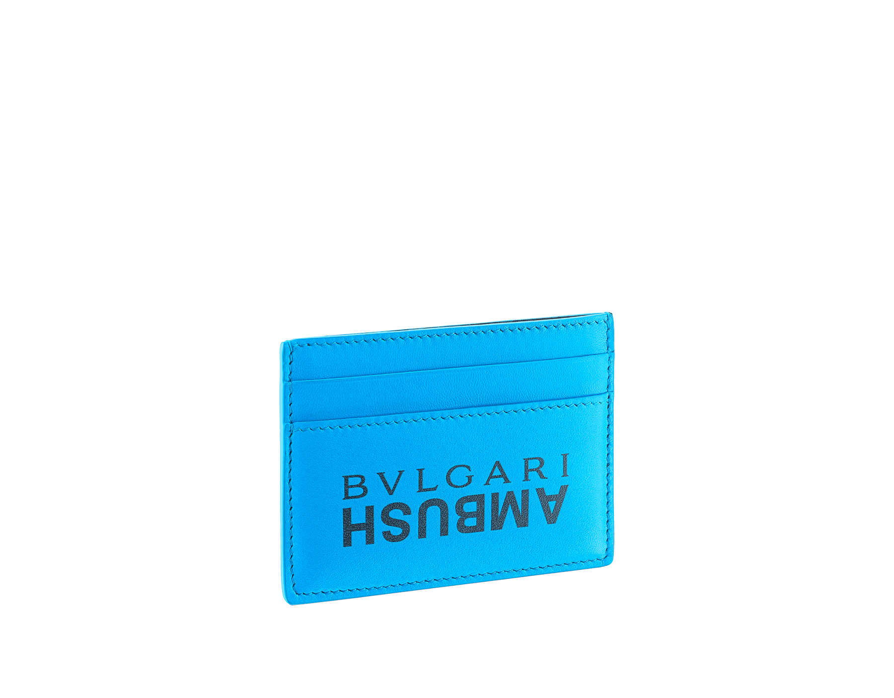 """Ambush x Bvlgari"" card holder in bright green nappa leather. Palladium plated brass ""BVLGARI AMBUSH"" décor on one side and special ""BVLGARI AMBUSH"" logo print on the other. Limited edition. YA-CCHOLDER image 2"