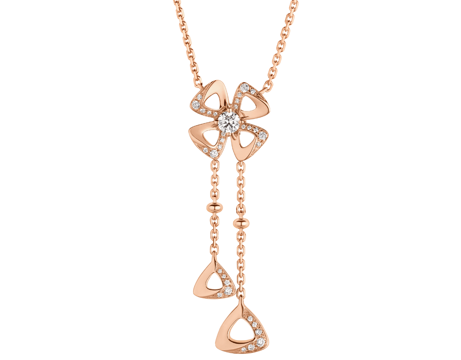 Fiorever 18 kt rose gold necklace set with a central round brilliant-cut diamond (0.10 ct) and pavé diamonds (0.09 ct) 357137 image 1
