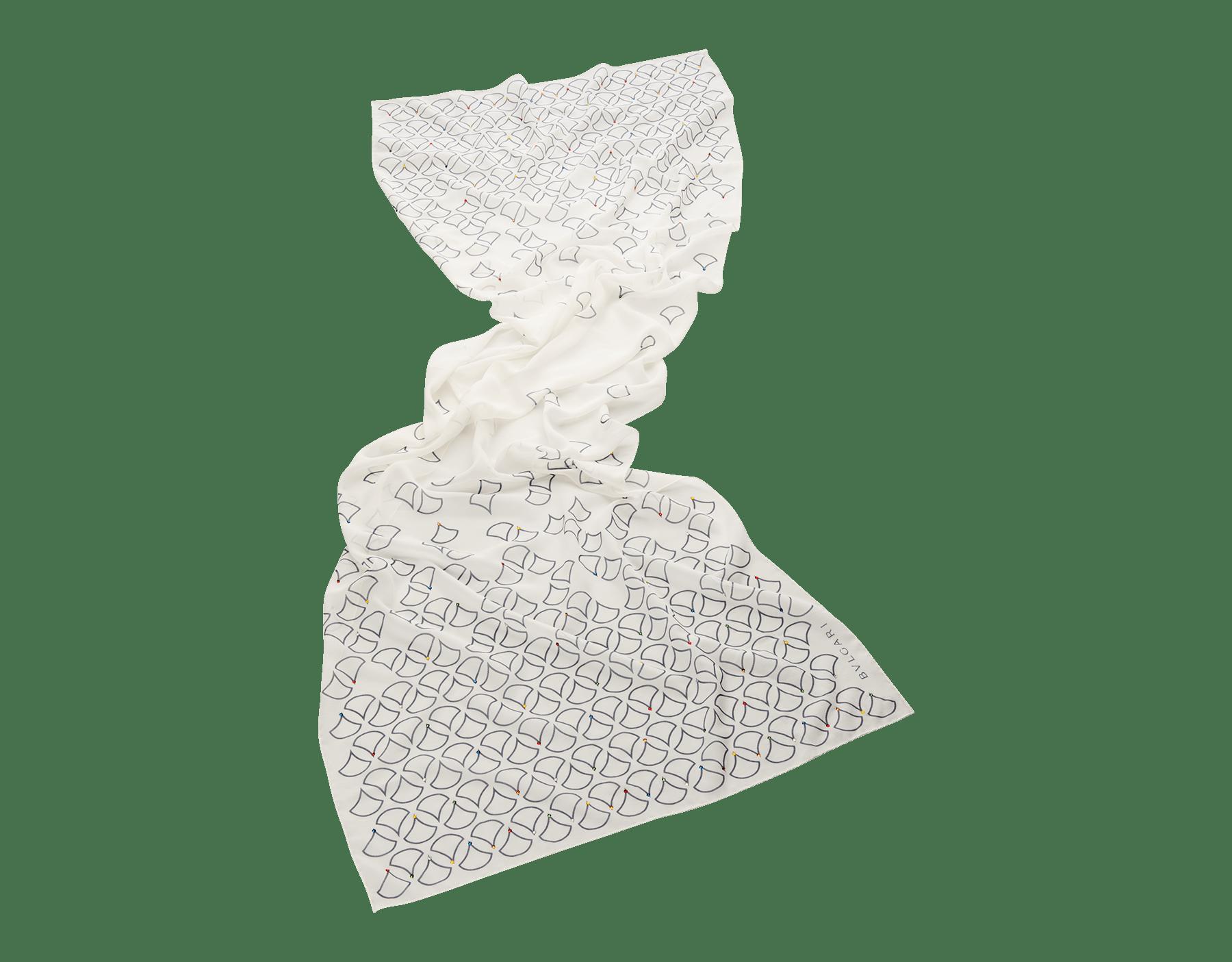 Étole Diva Night blanc agate en georgette de soie. 242946 image 1