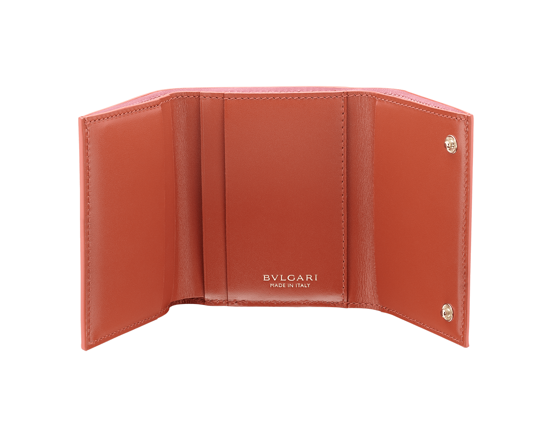 B.zero1 compact wallet in rosa di francia and imperial topaz goatskin. Iconic B.zero1 zip in light gold plated brass and two press stud closures. 289085 image 2