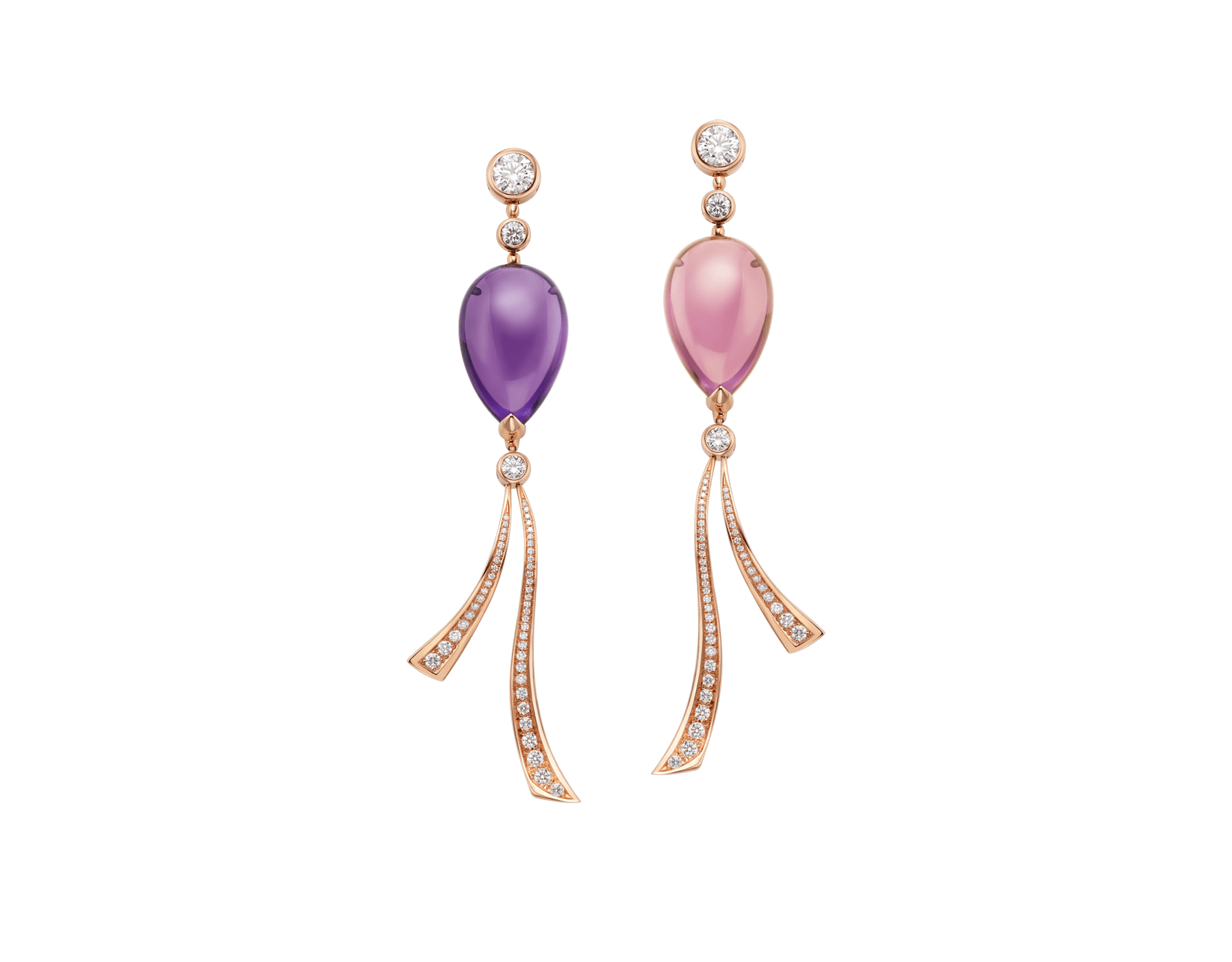 Boucles d'oreilles Festa en or rose 18 K serties de pierres de couleur, diamants taille brillant et pavé diamants 355863 image 2