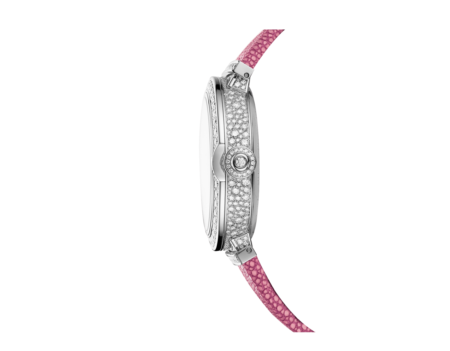 LVCEA Tourbillon Limited Edition watch with mechanical manufacture movement, automatic winding, see-through tourbillon, 18 kt white gold case set with round brilliant-cut diamonds, full-pavé dial with round brilliant-cut diamonds and pink colour finish, and pink galuchat bracelet 102887 image 2