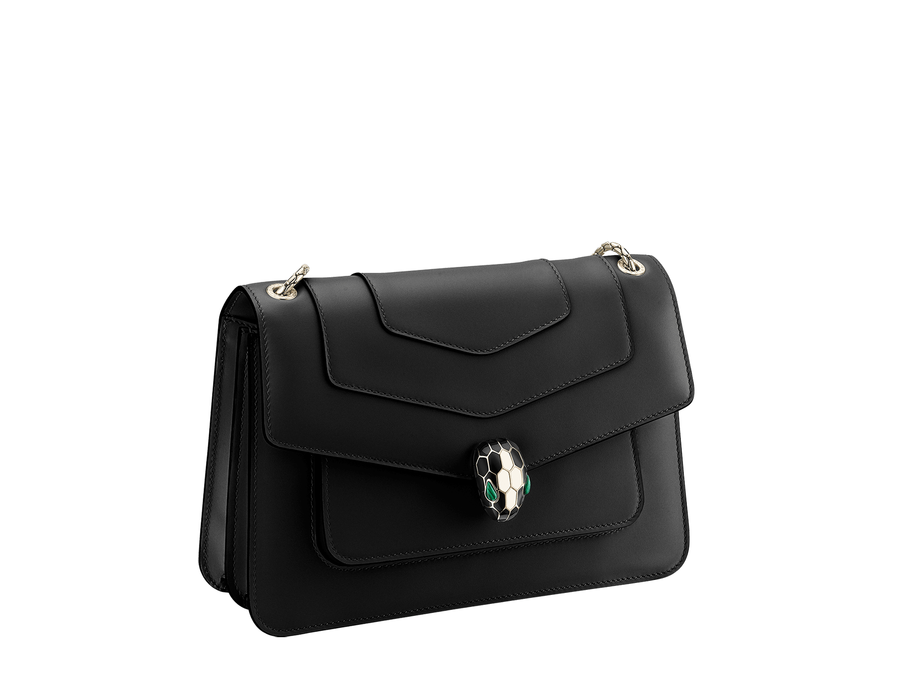 """""""Serpenti Forever"""" crossbody bag in black calf leather. Iconic snakehead closure in light gold plated brass enriched with black and white agate enamel and green malachite eyes. 1077-CL image 2"""