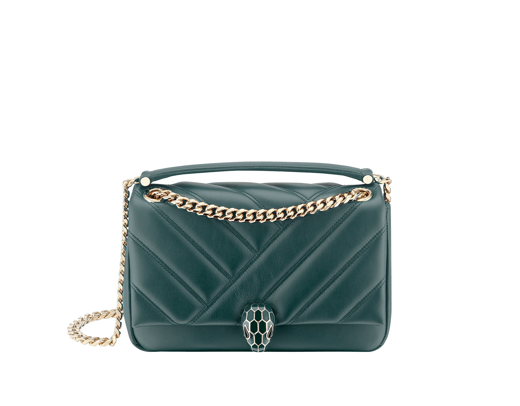 Serpenti Cabochon shoulder bag in soft quilted forest emerald calf leather, with a graphic motif. Brass light gold plated tempting snakehead closure in forest emerald enamel and black onyx eyes. 288719 image 1