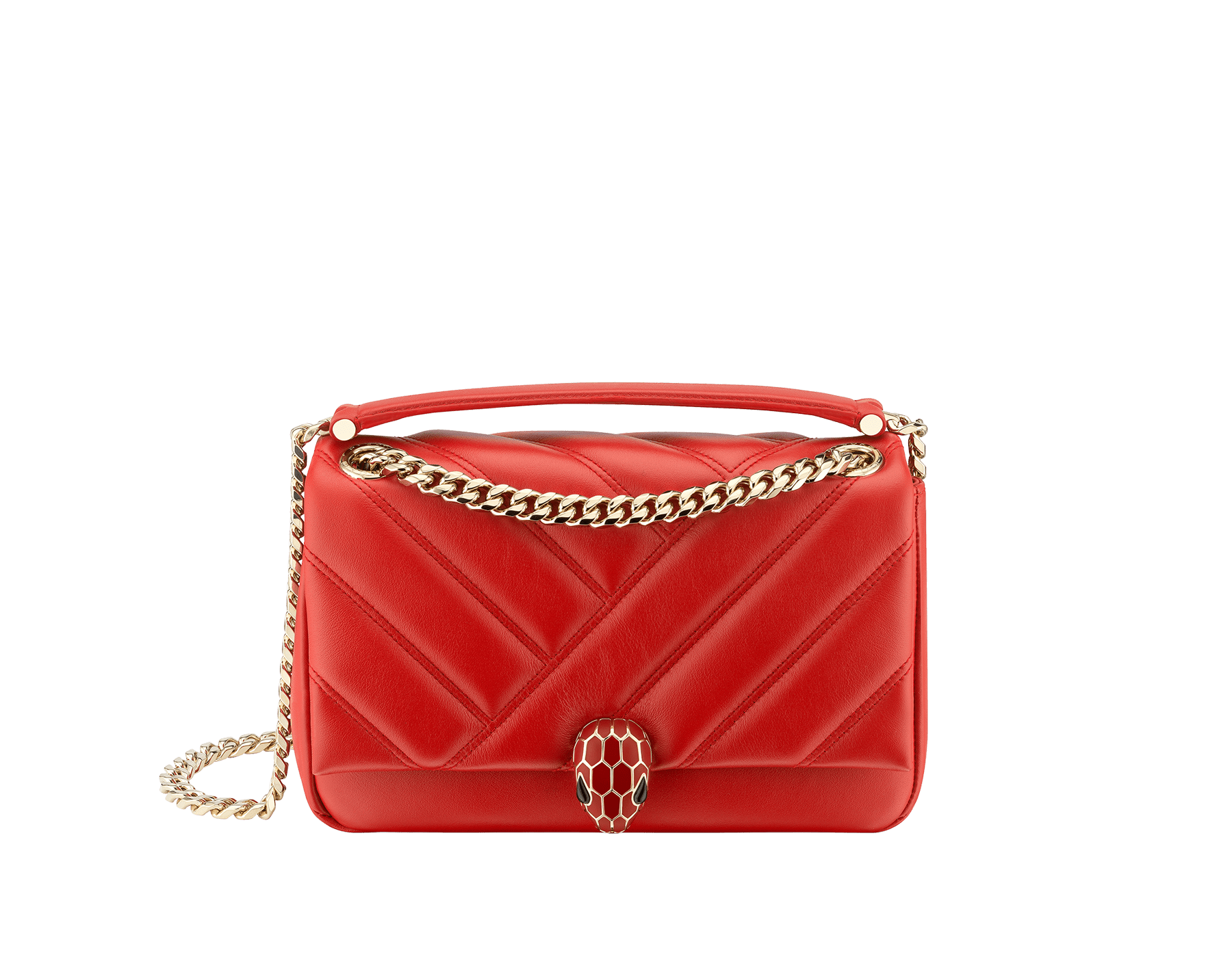 Serpenti Cabochon shoulder bag in soft matelassè roman garnet nappa leather, with a graphic motif, and roman garnet calf leather. Brass light gold plated tempting snake head closure in matte roman garnet and shiny roman garnet enamel and black onyx eyes. 981-NSM image 1