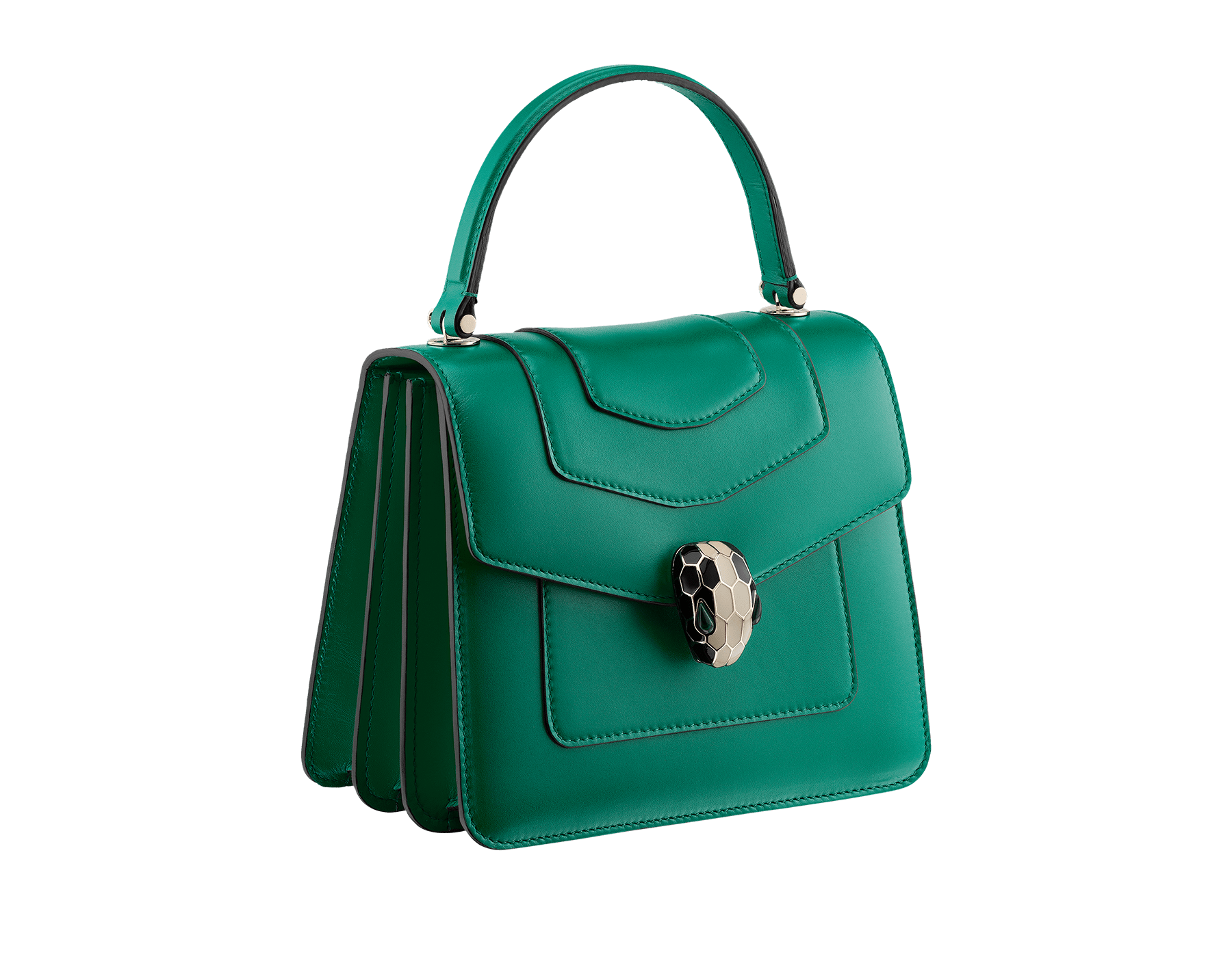 """Serpenti Forever"" crossbody bag in crystal rose calf leather. Iconic snakehead closure in light gold plated brass enriched with black and white enamel and green malachite eyes 752-CLa image 2"