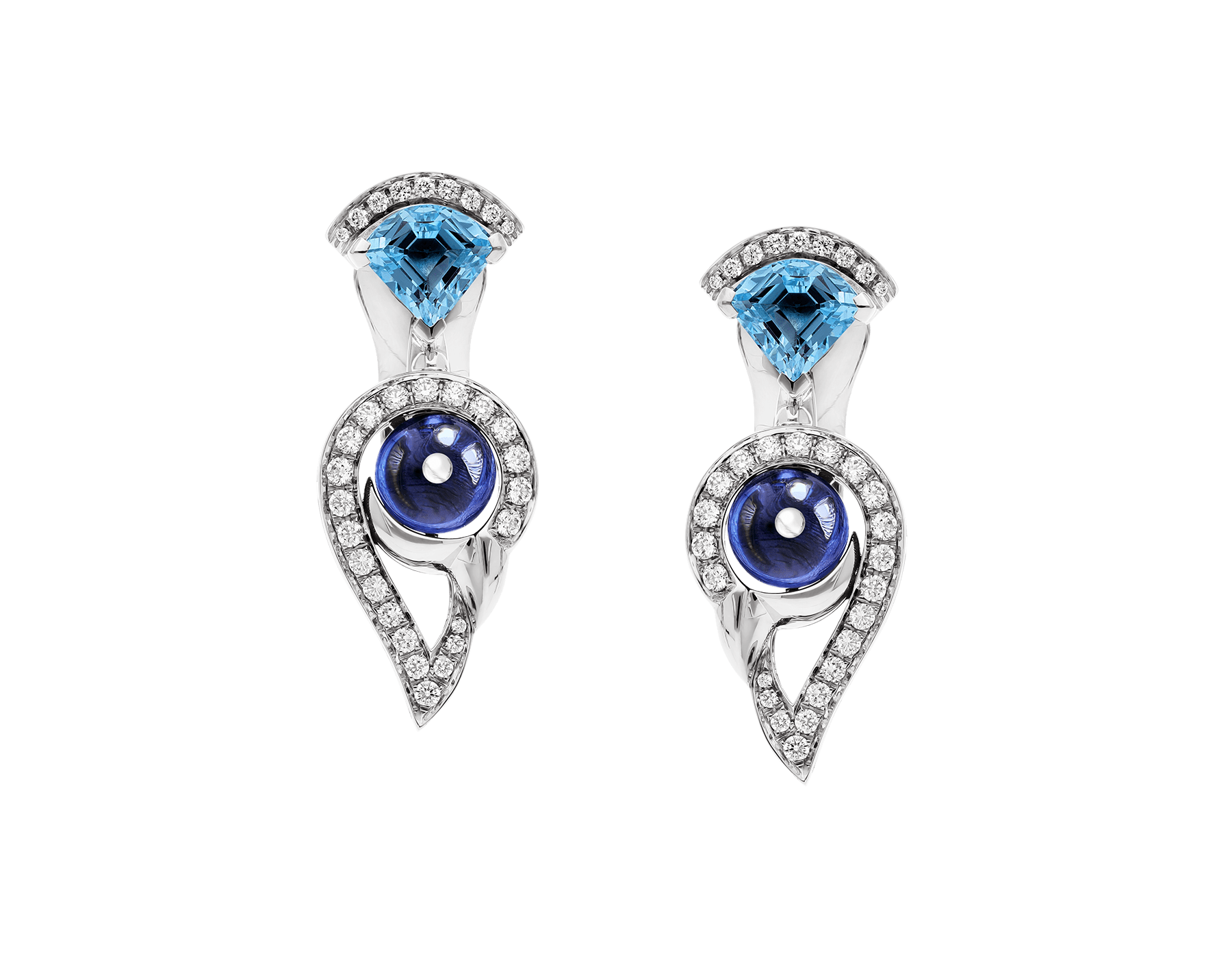 DIVAS' DREAM 18 kt white gold earrings set with coloured gemstones and pavé diamonds 355628 image 1