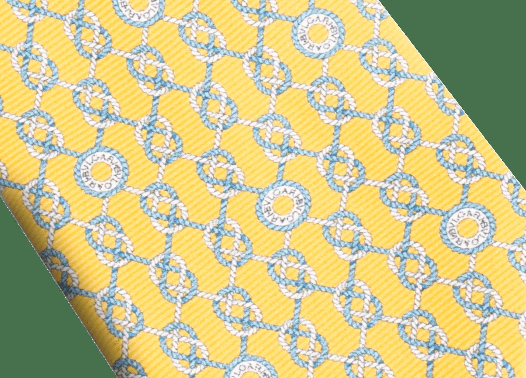 Yellow Sailor Logo pattern seven-fold tie in fine saglione printed silk. 244201 image 2