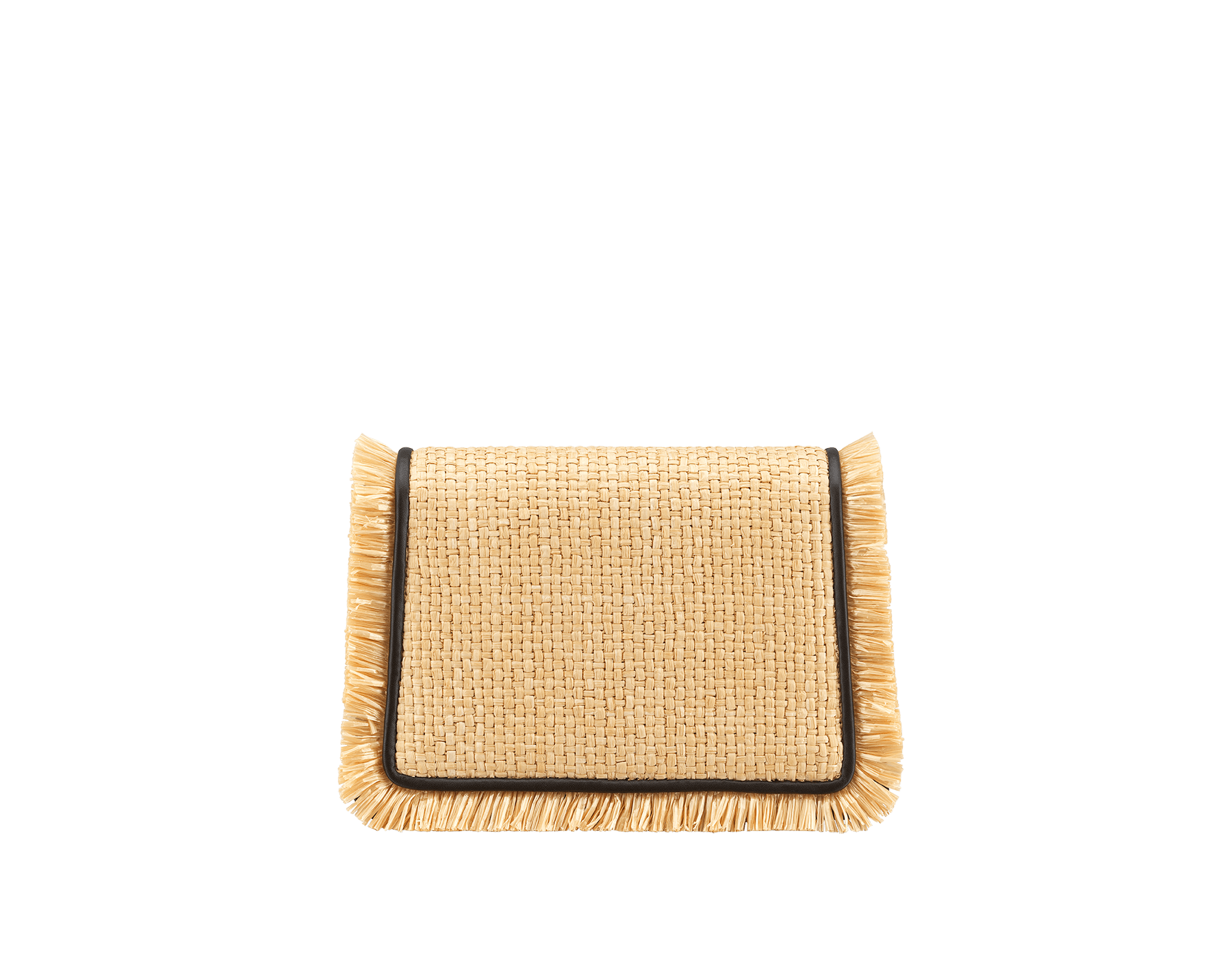 """Serpenti Diamond Blast"" crossbody mini bag in beige raffia body, Rosa di Francia pink calf leather frames finished with beige raffia fringes, and Rosa di Francia pink nappa leather internal lining. Alluring snakehead closure in light gold-plated brass enhanced with full matte Natural beige enamel and black onyx eyes. Online Exclusive 520 Special Edition. 290961 image 3"