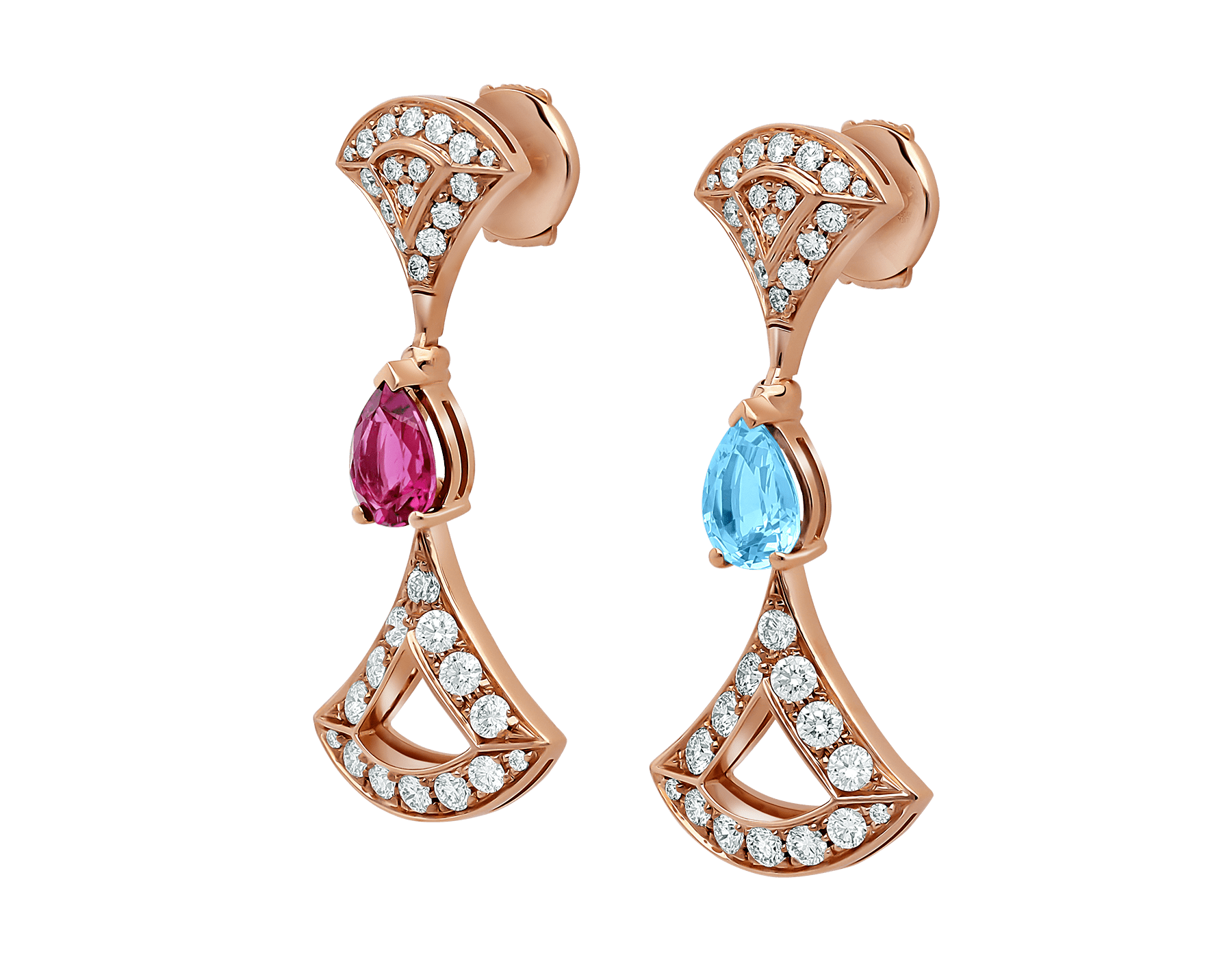Boucles d'oreilles DIVAS' DREAM en or rose 18 K serties de pierres de couleur et pavé diamants 355620 image 2