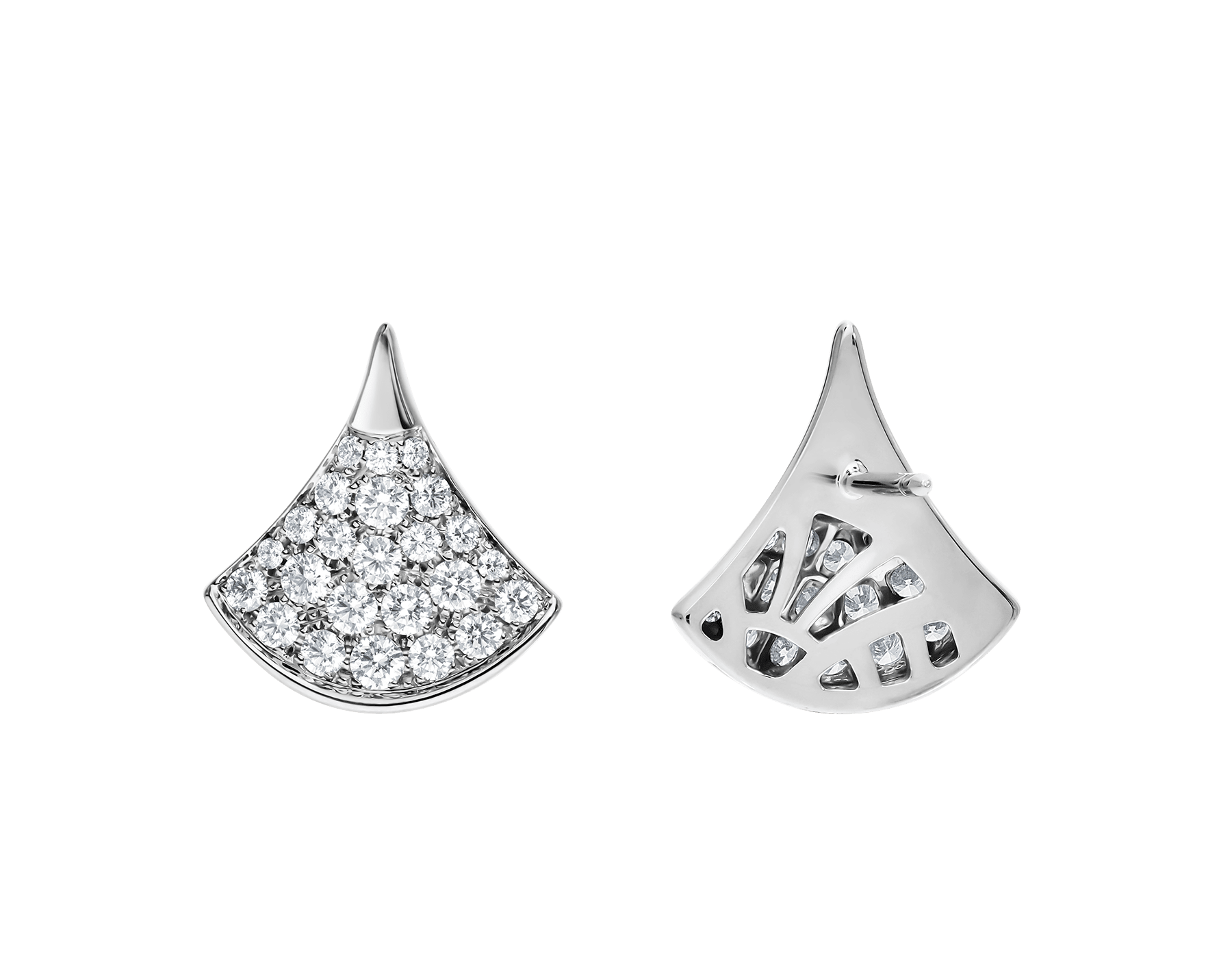 DIVAS' DREAM stud earrings in 18 kt white gold set with pavé diamonds. 352602 image 3