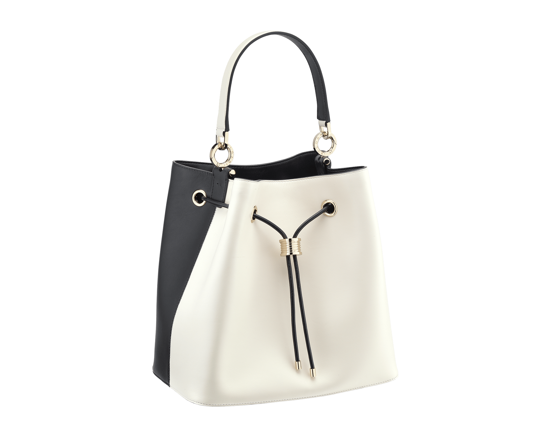 """""""B.zero1"""" bucket bag in black smooth calf leather and black nappa leather internal lining. Hardware in light gold plated brass, featuring a B.zero1 décor. 975-BCL image 2"""