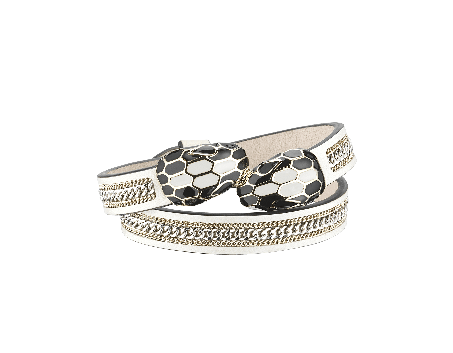 """""""Serpenti Forever"""" multi-coiled bracelet in white agate calf leather with a """"3-Chain"""" motif and light gold plated brass hardware. Iconic contraire snakehead décor enamelled in black and white agate and finished with seductive black enamel eyes. MCSerp-3CC-WA image 1"""
