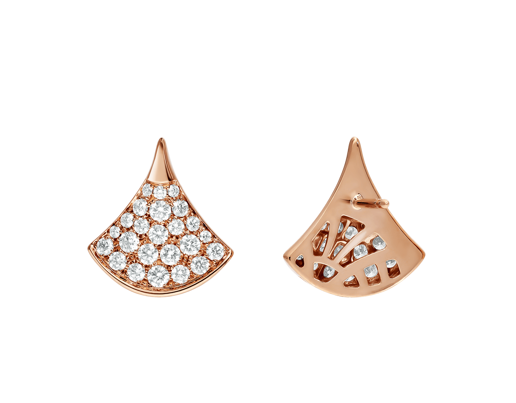 DIVAS' DREAM stud earrings in 18 kt rose gold, set with pavé diamonds (0.90 ct). 352601 image 3