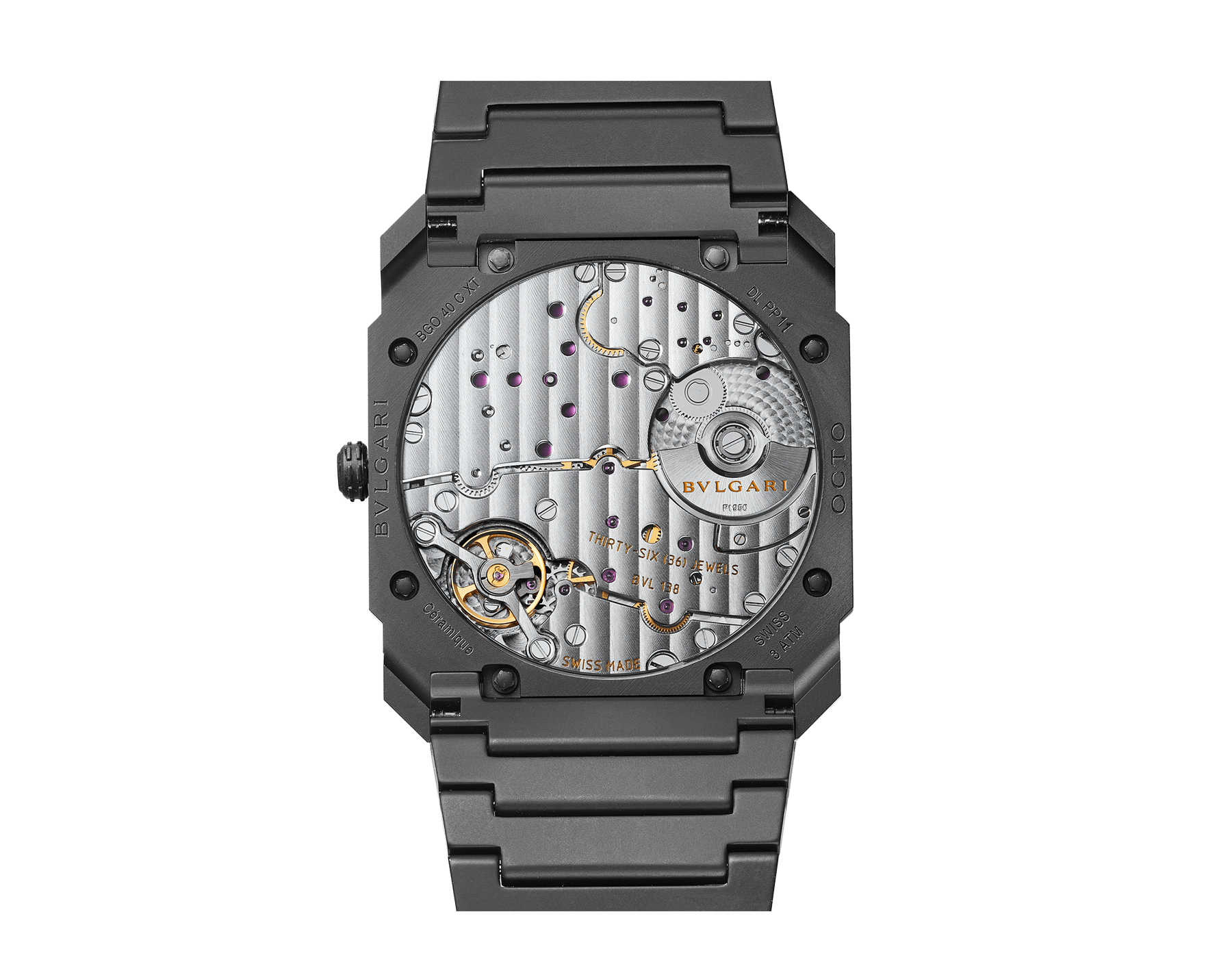 Octo Finissimo Automatic watch in black sandblasted ceramic with extra-thin mechanical manufacture movement, automatic winding with platinum microrotor, small seconds and transparent case back. Water-resistant up to 30 metres 103077 image 3