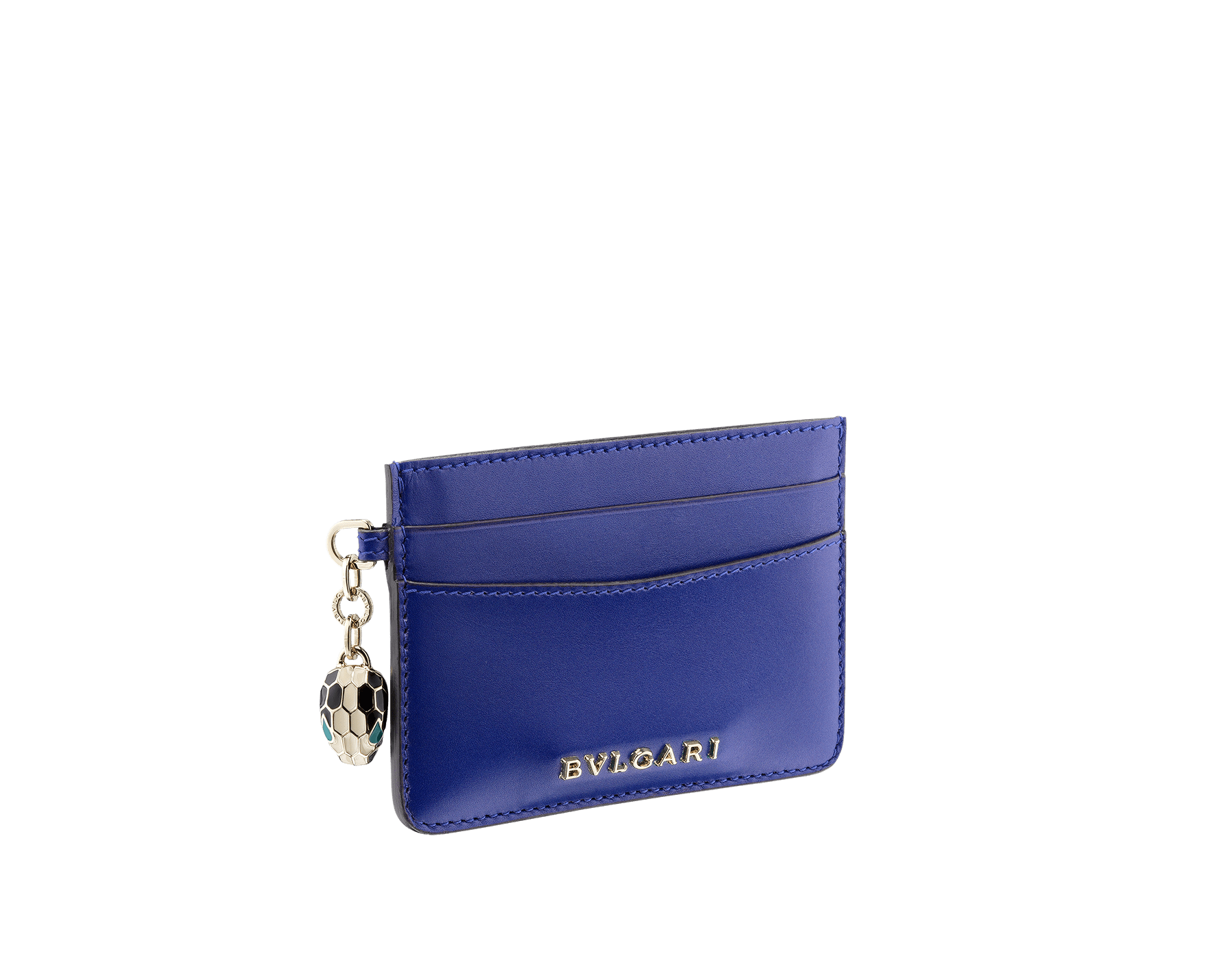 Credit card holder in royal sapphire and teal topaz calf leather. Serpenti charm in black and white enamel with green malachite enamel eyes and Bulgari logo in metal characters. Four credit card slots and one compartment. Also available in other colours. 10,5 x 7,5 cm. - 4.1. x 3.0'' 282021 image 2