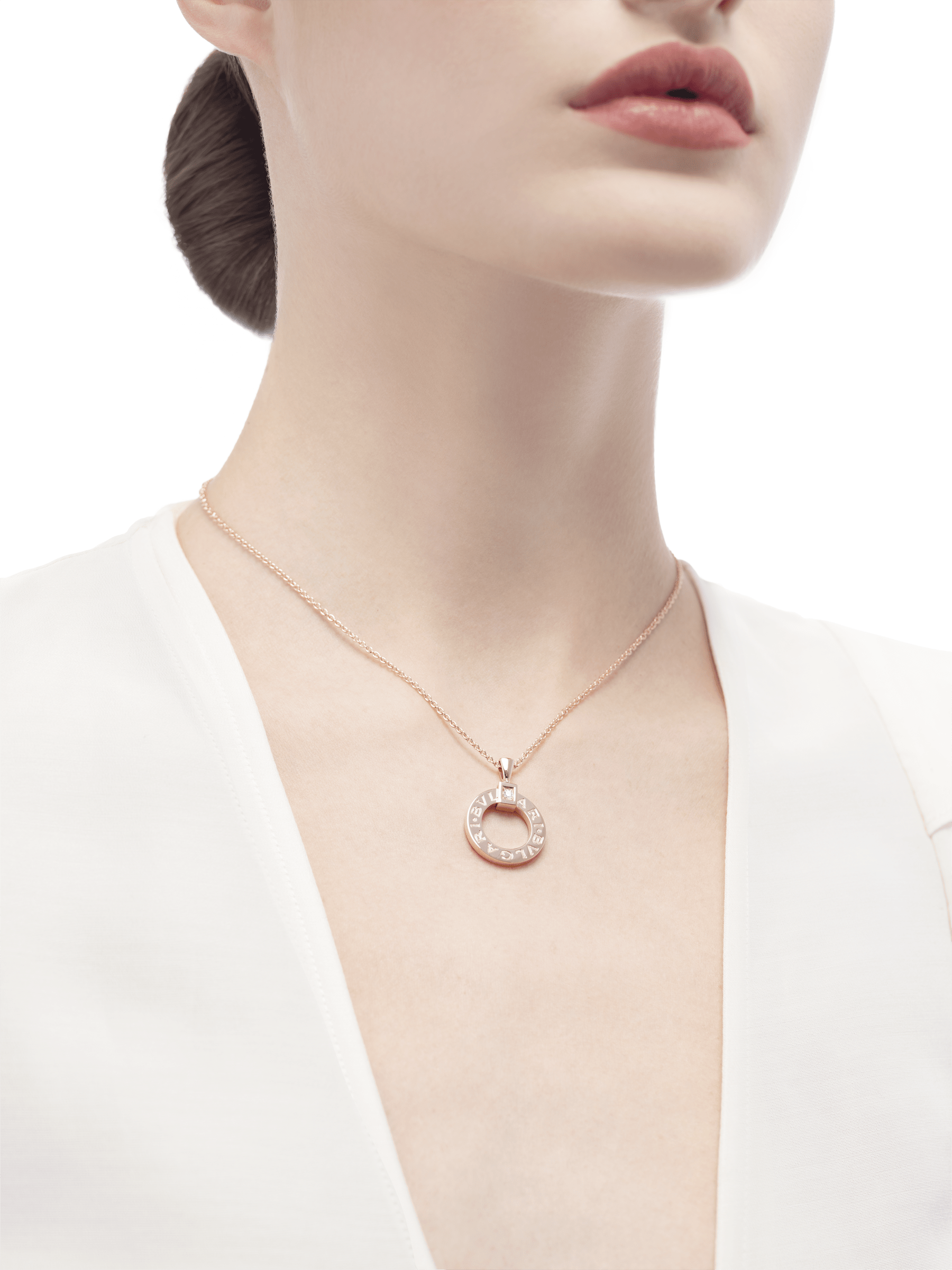 BVLGARI BVLGARI necklace with 18 kt rose gold chain and 18 kt rose gold pendant set with a diamond 344492 image 4