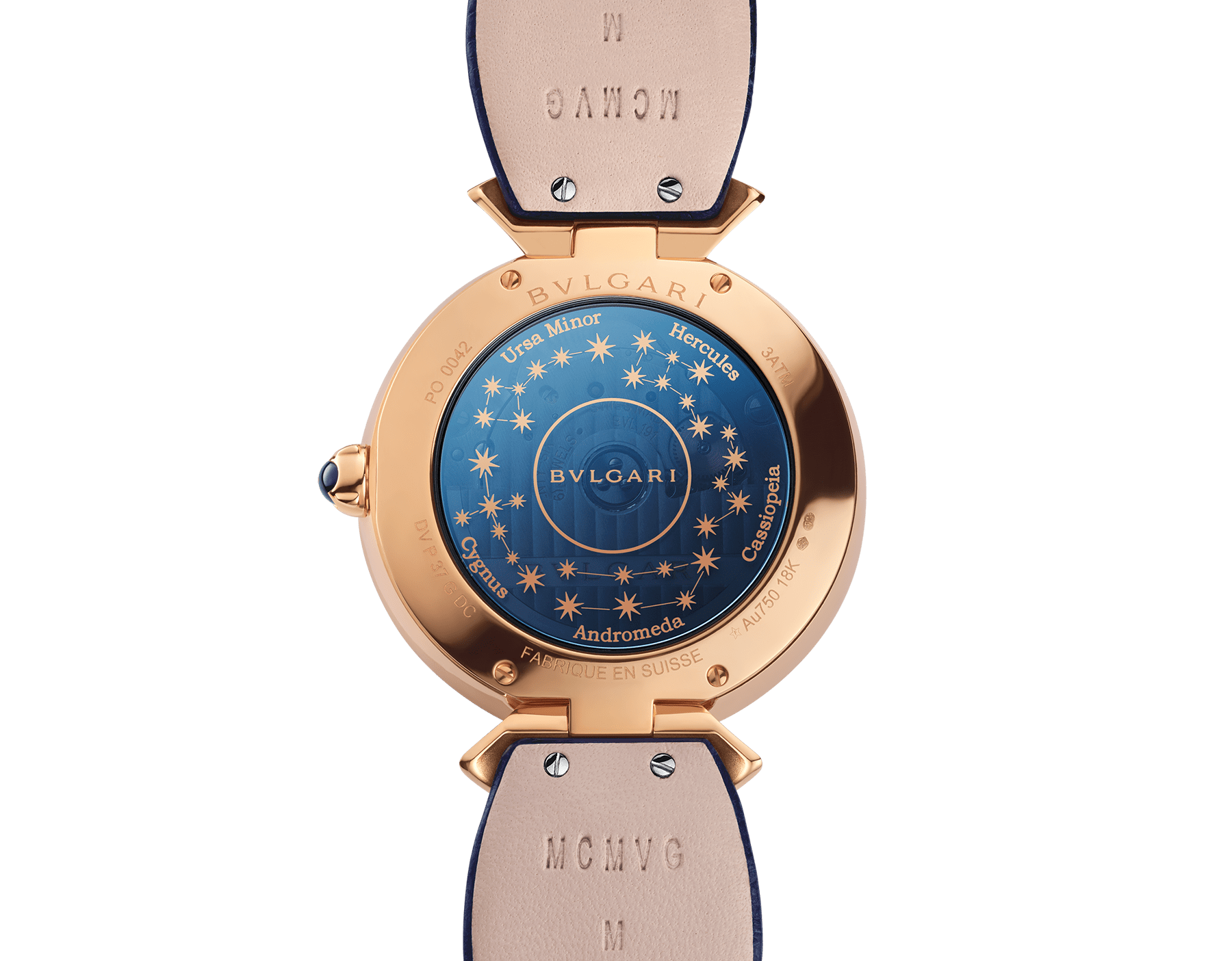 DIVAS' DREAM watch with mechanical manufacture movement, automatic winding, 18 kt rose gold case set with round brilliant-cut diamonds and sapphires, aventurine rotating discs with diamonds and printed constellations and dark blue alligator bracelet 102843 image 4