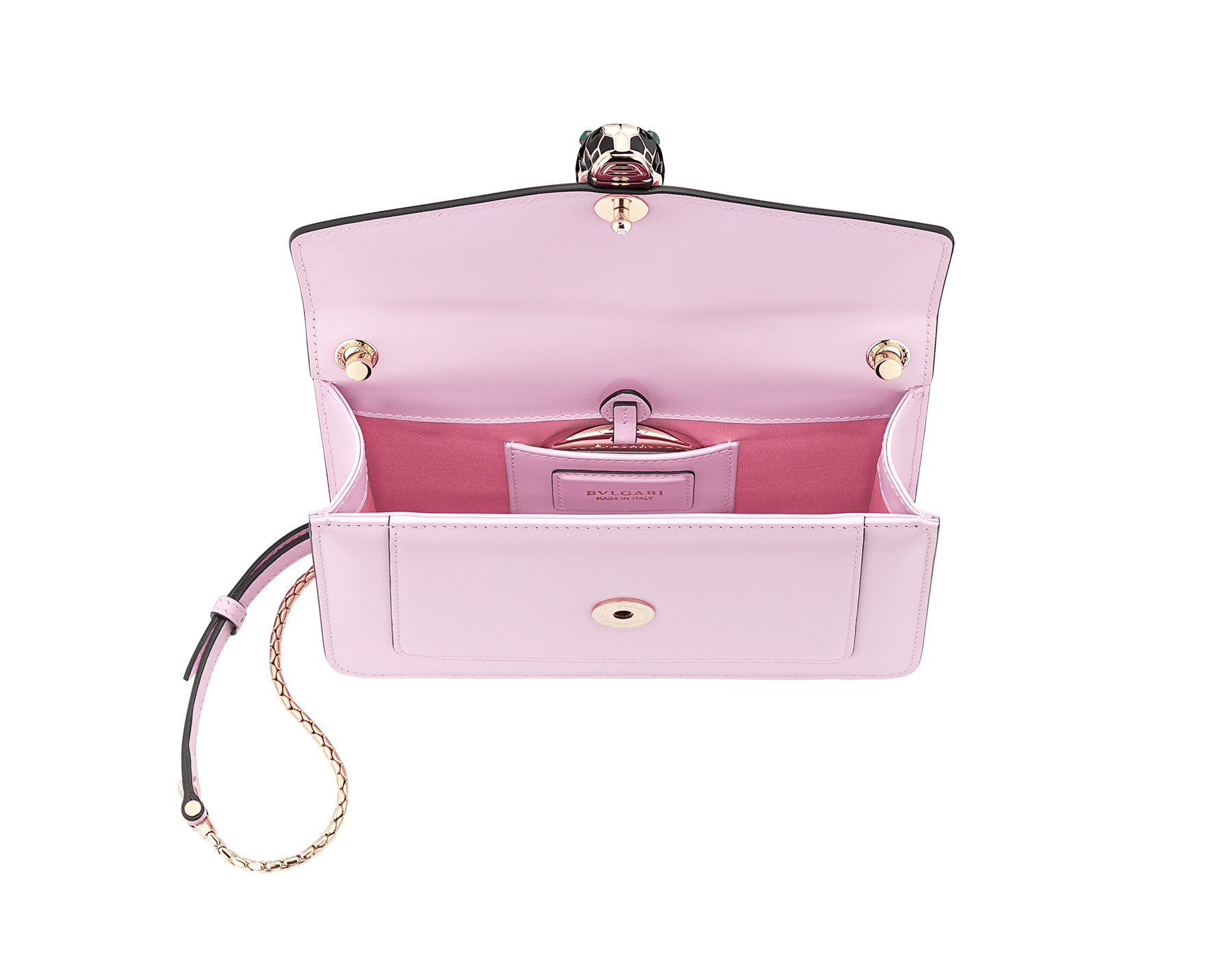 Serpenti Forever crossbody bag in rosa di francia calf leather. Iconic snakehead closure in light gold plated brass embellished with black and white enamel and green malachite eyes. 288715 image 4