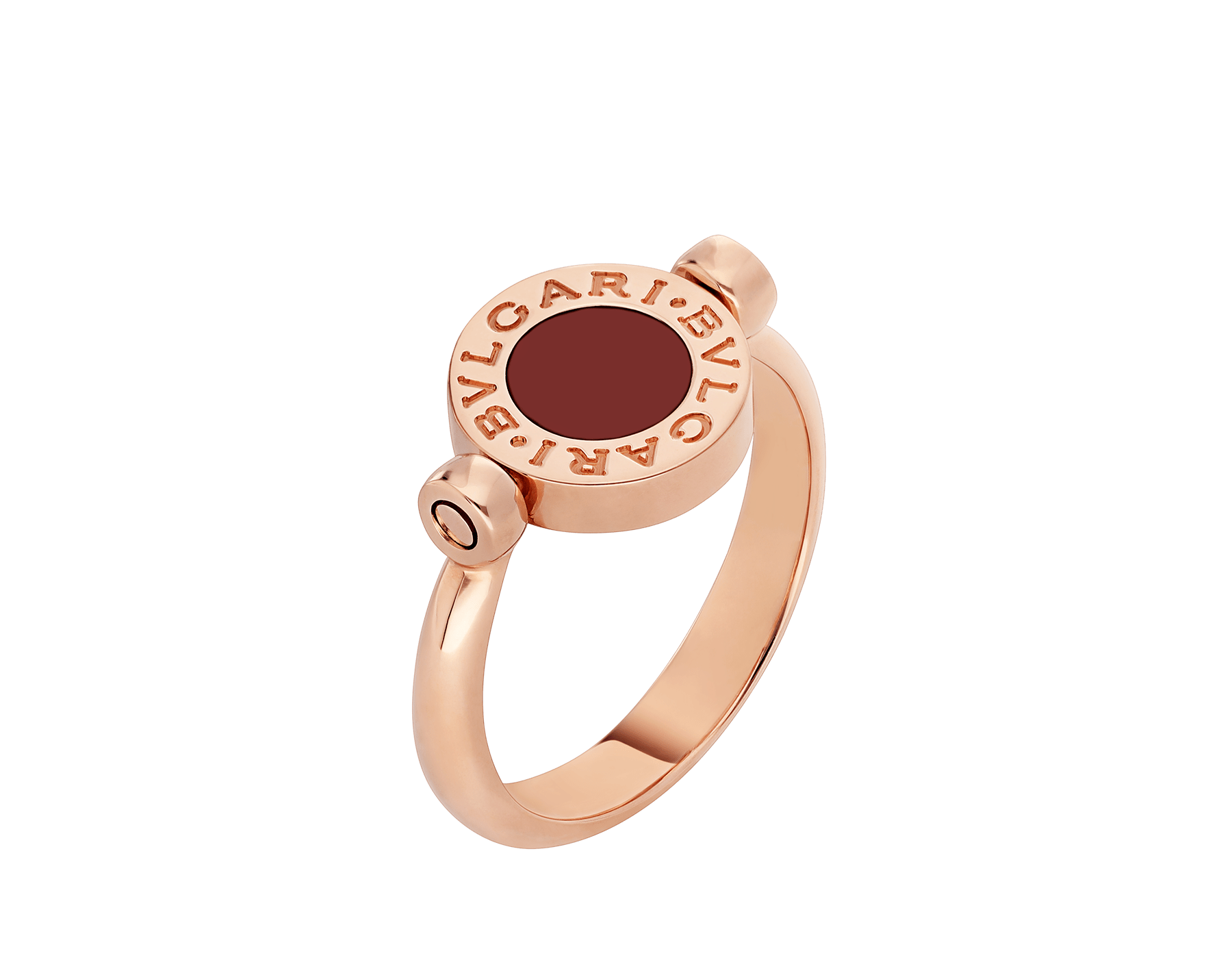 BVLGARI BVLGARI 18 kt rose gold flip ring set with mother-of-pearl and carnelian elements AN858197 image 1