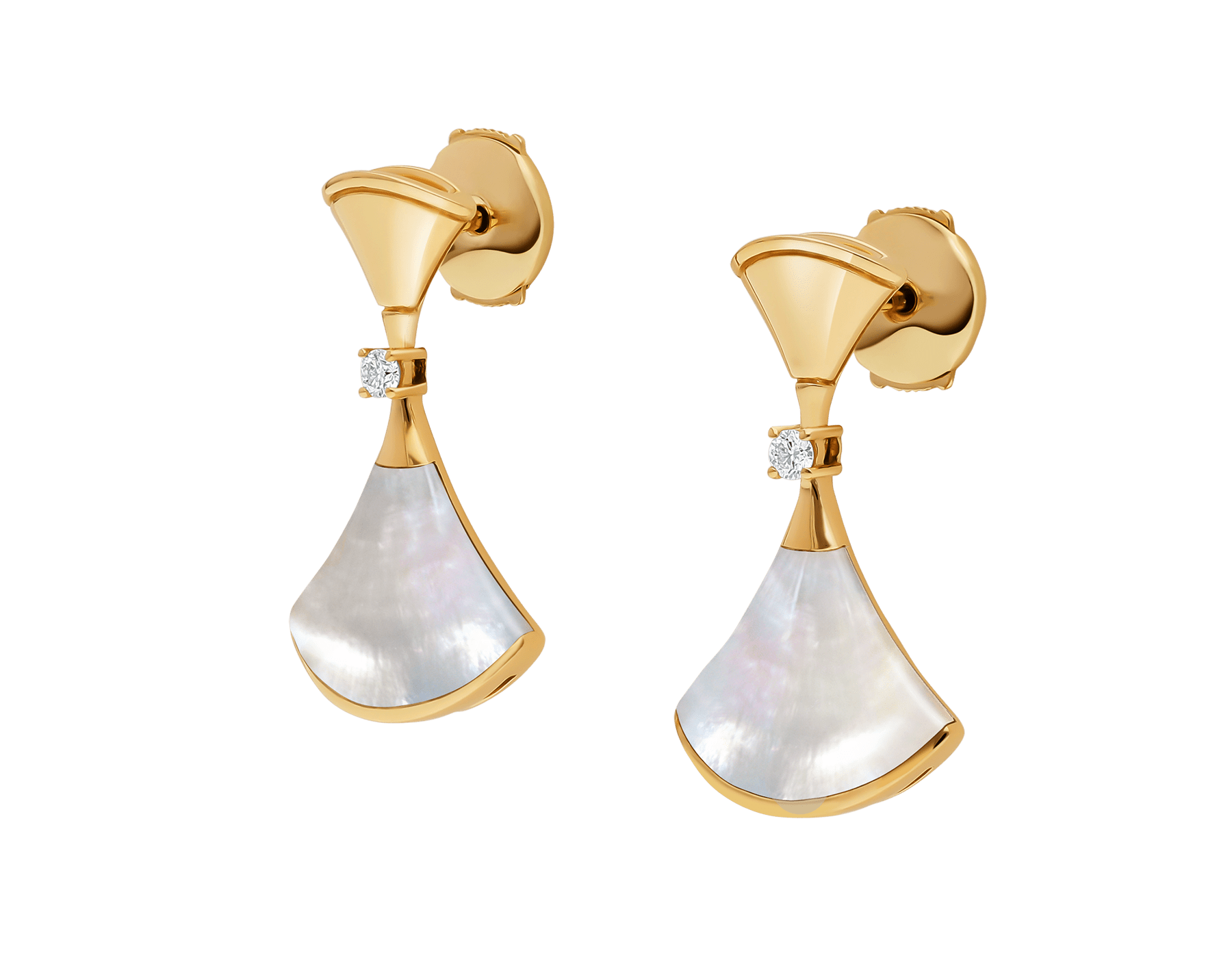 DIVAS' DREAM 18 kt yellow gold earrings set with mother-of-pearl elements and diamonds 357513 image 2