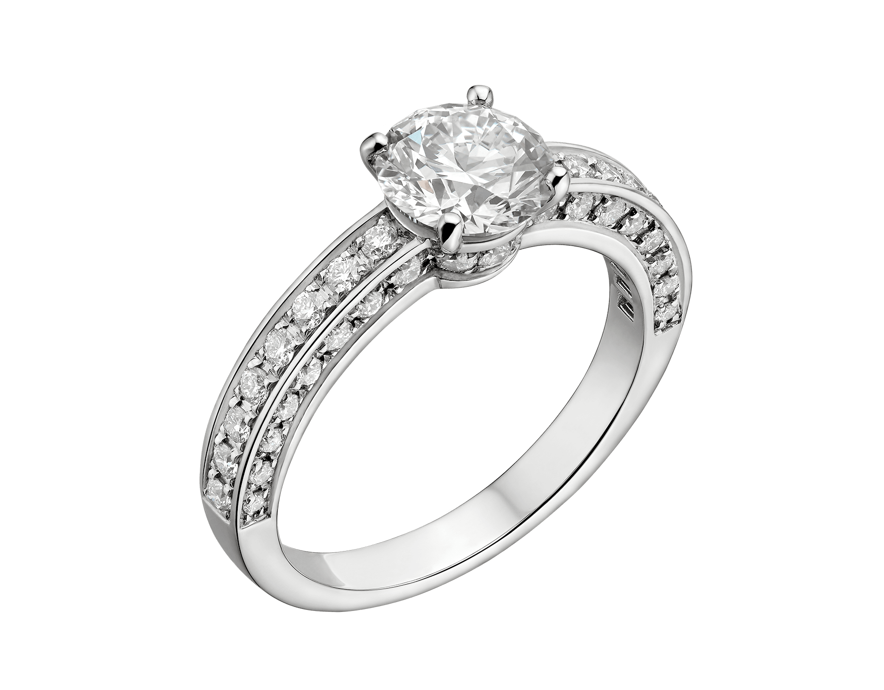 Dedicata a Venezia: 1503 solitaire ring in platinum with a round brilliant-cut diamond and pavé diamonds. Available from 0.30 ct. Named after the year in which the first engagement ring was offered in Venice. 343611 image 1