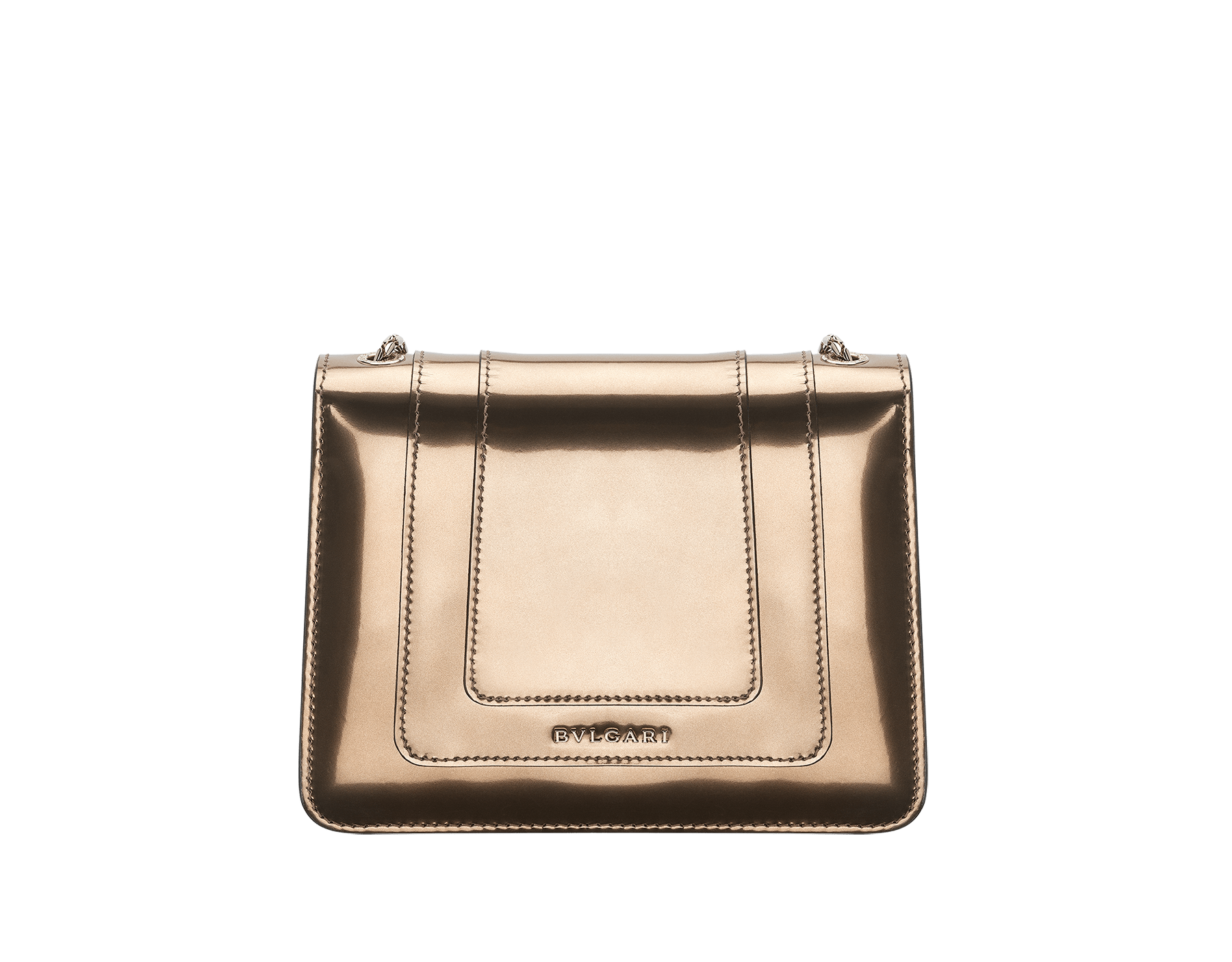 Flap cover bag Serpenti Forever in antique bronze brushed metallic calf leather with brass light gold plated Serpenti head closure in black and white enamel with eyes in green malachite. 39485 image 2