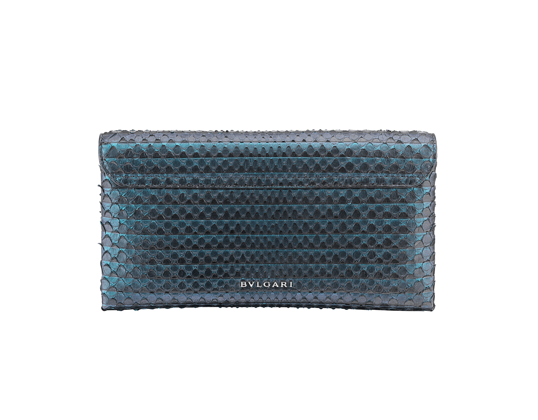 """Serpenti"" evening clutch bag in deep jade Plissé python skin. Iconic snakehead stud closure with tassel in palladium plated brass enriched with black and deep jade enamel and black onyx eyes. 288168 image 3"