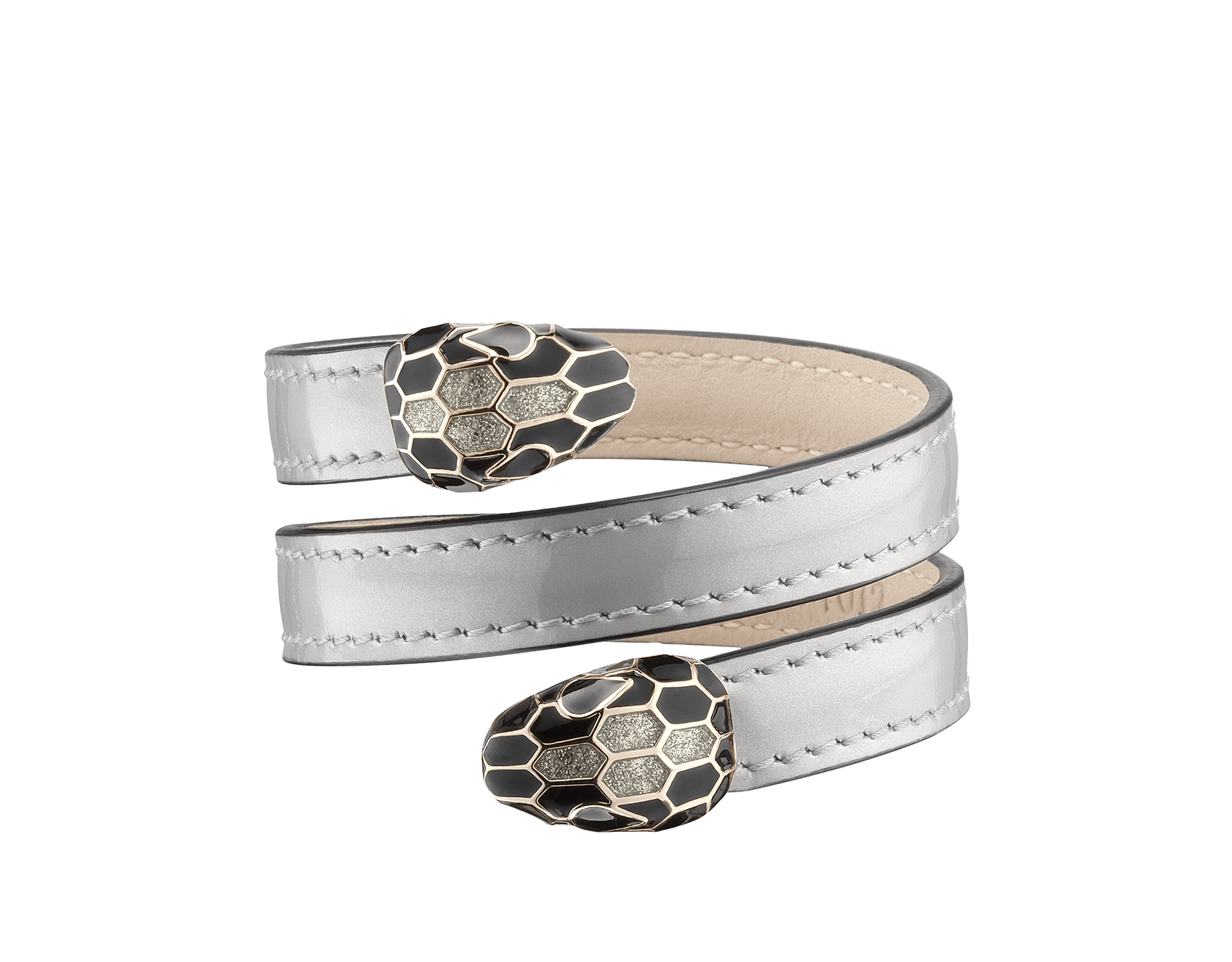 Multi-coiled rigid Cleopatra bracelet in silver brushed metallic calf leather with brass light gold plated hardware. Cleopatra-BMCL-S image 1