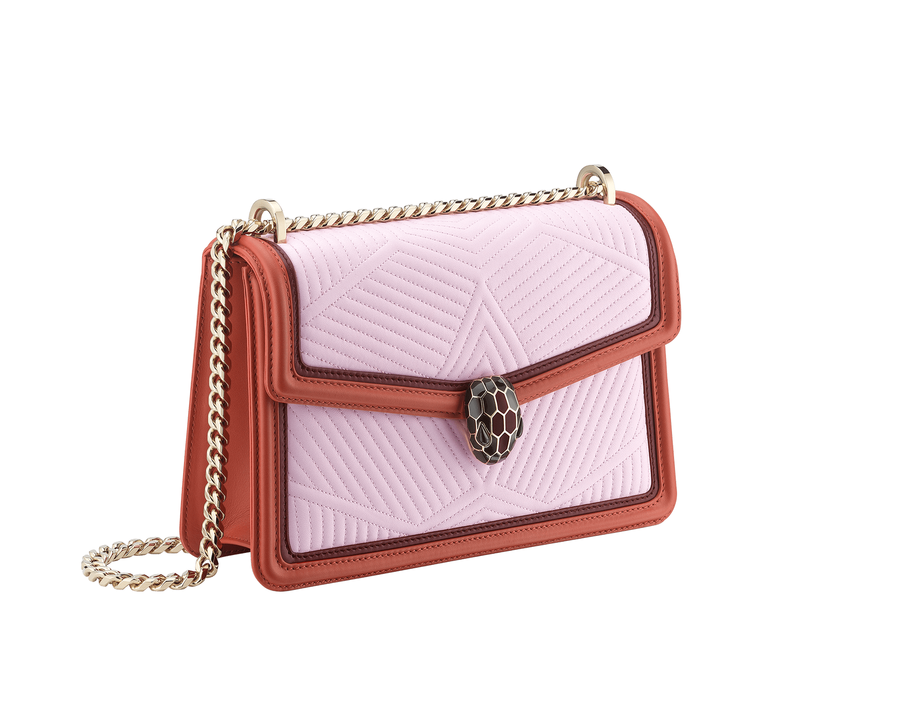 Serpenti Diamond Blast shoulder bag with rosa di francia quilted nappa leather body and imperial topaz and Roman garnet calf leather frames. Iconic snakehead closure in light gold plated brass embellished with Roman garnet and black enamel and black onyx eyes. 288829 image 2