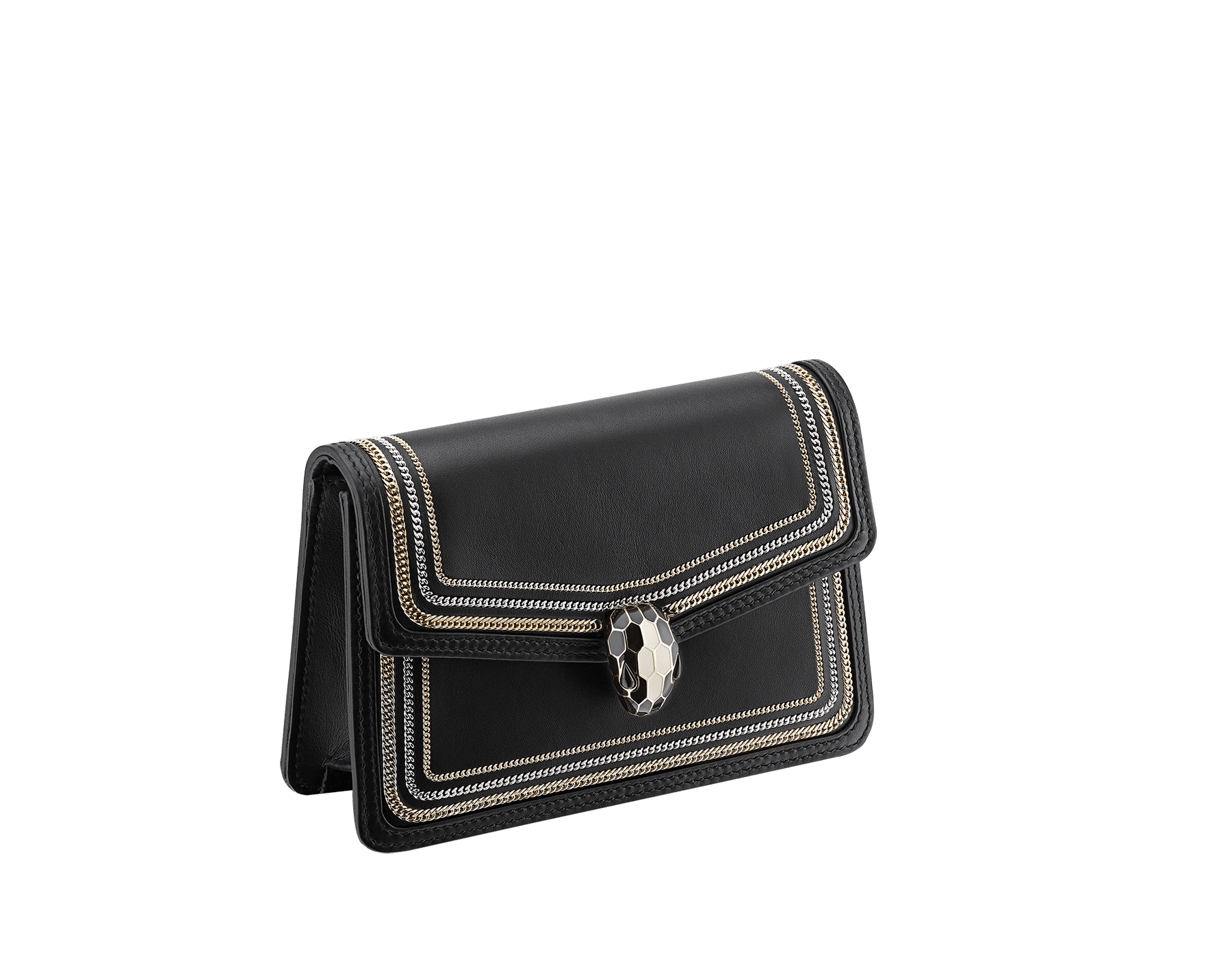 """Serpenti Diamond Blast"" crossbody mini bag in black smooth calf leather, featuring a 3-Chain motif in light gold and palladium finishing. Iconic snakehead closure in light gold plated brass enriched with black and white enamel and black onyx eyes. 987-3CFCL image 2"