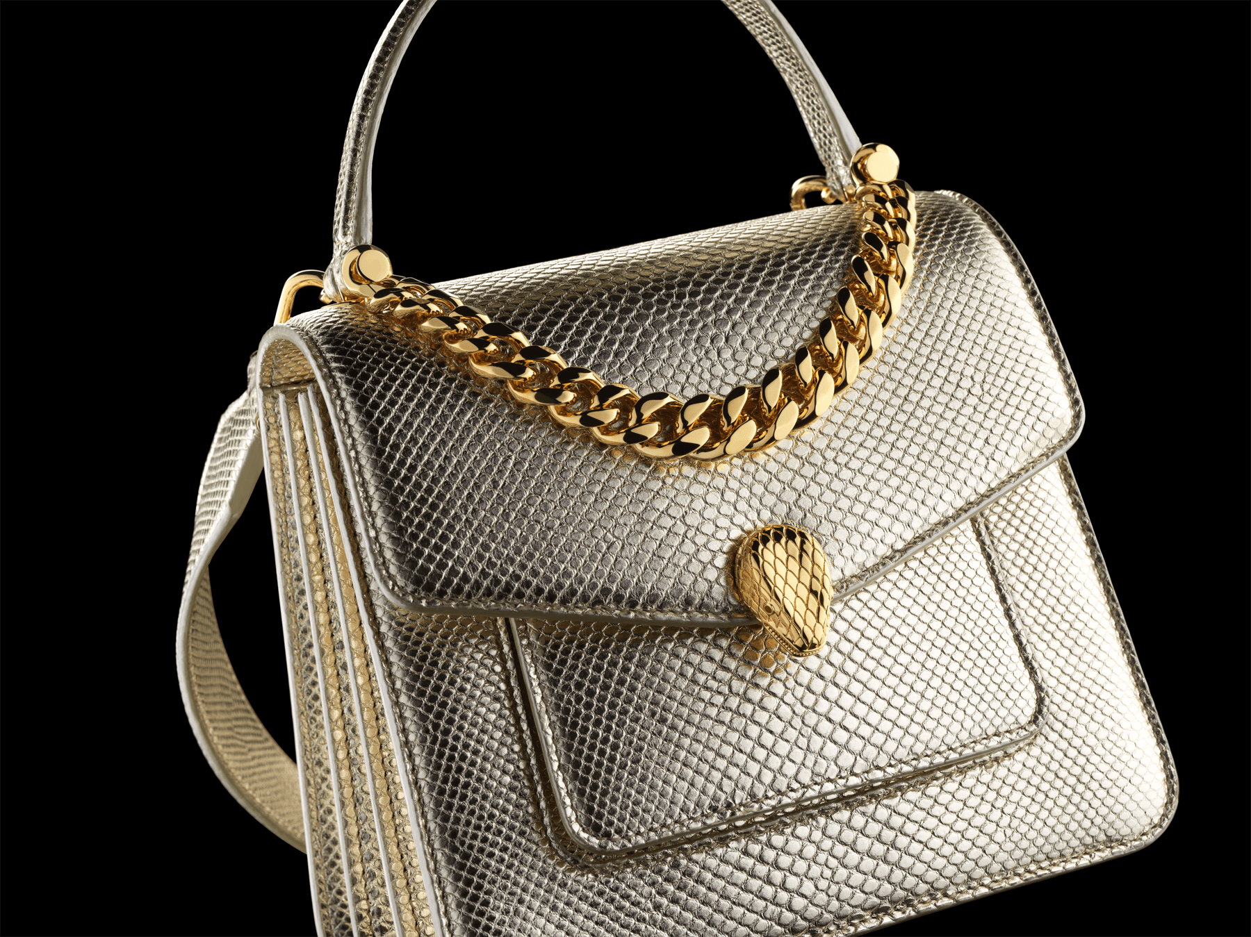 """Serpenti Forever"" small maxi chain top handle bag in peach nappa leather, with Lavander Amethyst lilac nappa leather internal lining. New Serpenti head closure in gold plated brass, finished with small pink mother-of-pearl scales in the middle and red enamel eyes. 1133-MCN image 5"