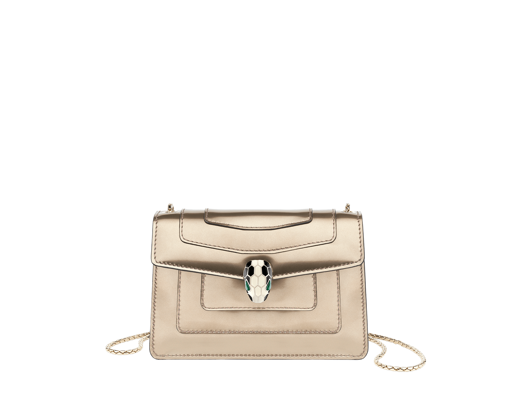 Serpenti Forever mini crossbody bag in antique bronze brushed metallic calf leather. Brass light gold plated snake head closure in black and white enamel, with green malachite eyes. 288049 image 1