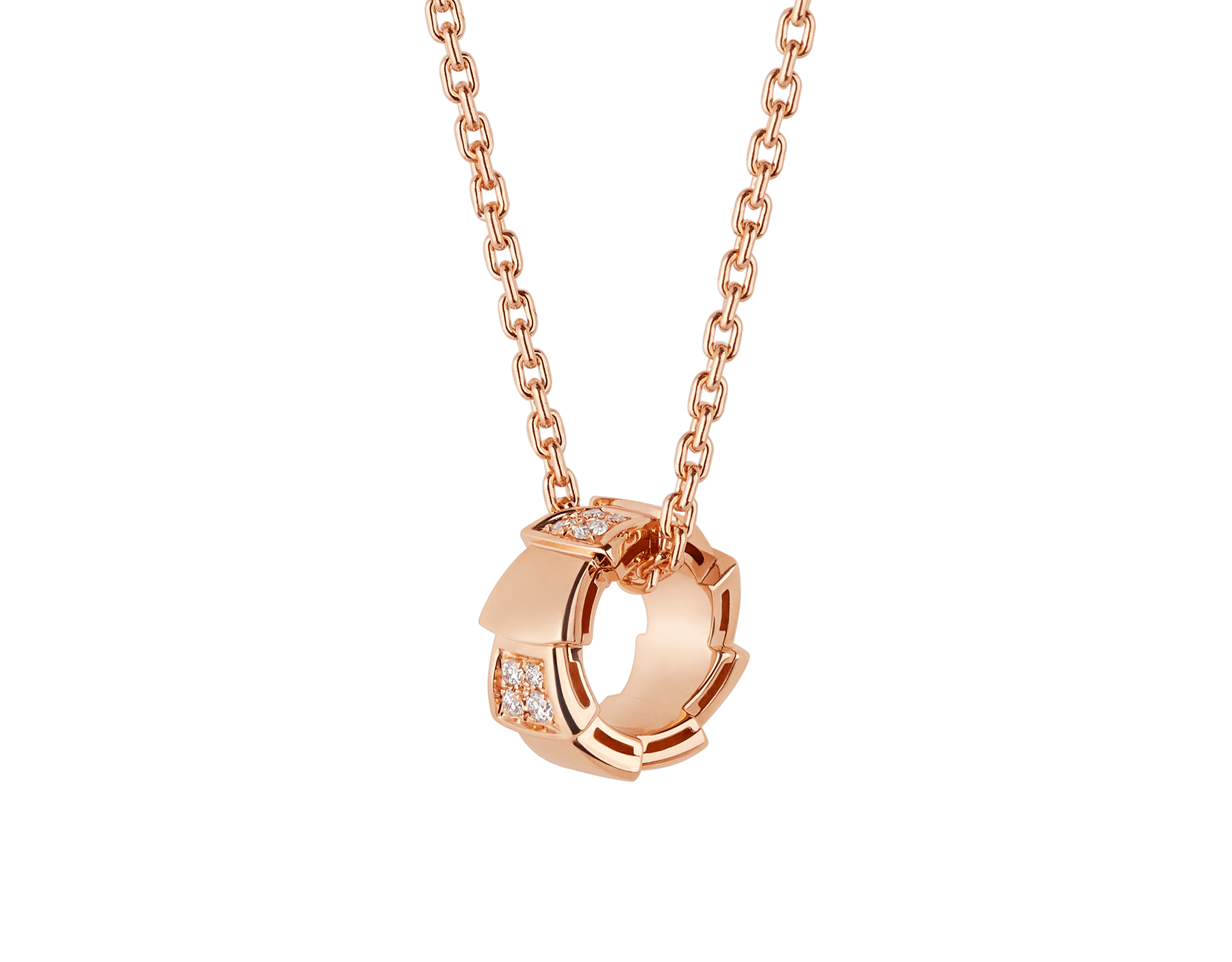 Serpenti Viper necklace with 18 kt rose gold chain and 18 kt rose gold pendant set with demi pavé diamonds. (0.21 ct) 355254 image 1