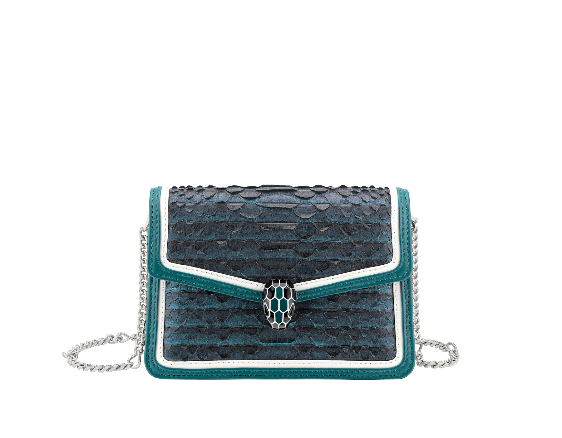 """Serpenti Diamond Blast"" crossbody micro bag in deep jade Plissé python skin body and deep jade and white calf leather frames. Iconic snakehead closure in palladium plated brass enriched with deep jade and black enamel and black onyx eyes. 288119 image 1"