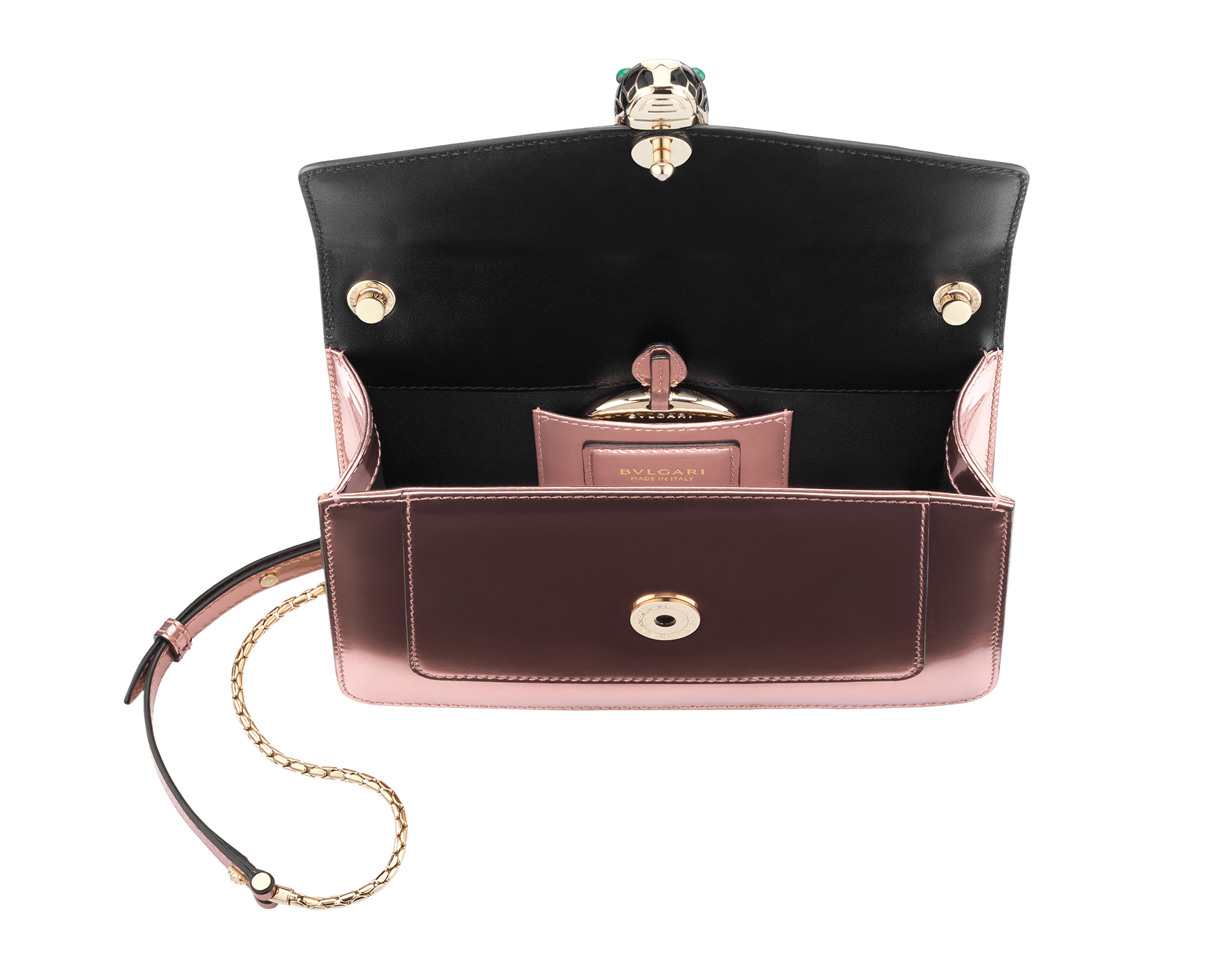 Flap cover bag Serpenti Forever in rose quartz brushed metallic calf leather. Brass light gold plated snake head closure in black and white enamel, with eyes in green malachite. 284801 image 2