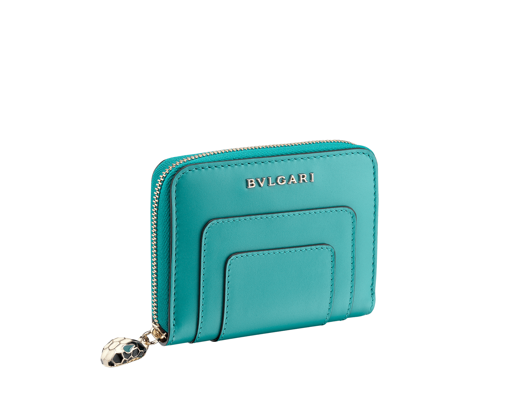 Serpenti Forever mini zipped wallet in arctic jade and grape amethyst calf leather. Iconic snakehead zip puller in black and white enamel with green enamel eyes. 288810 image 1