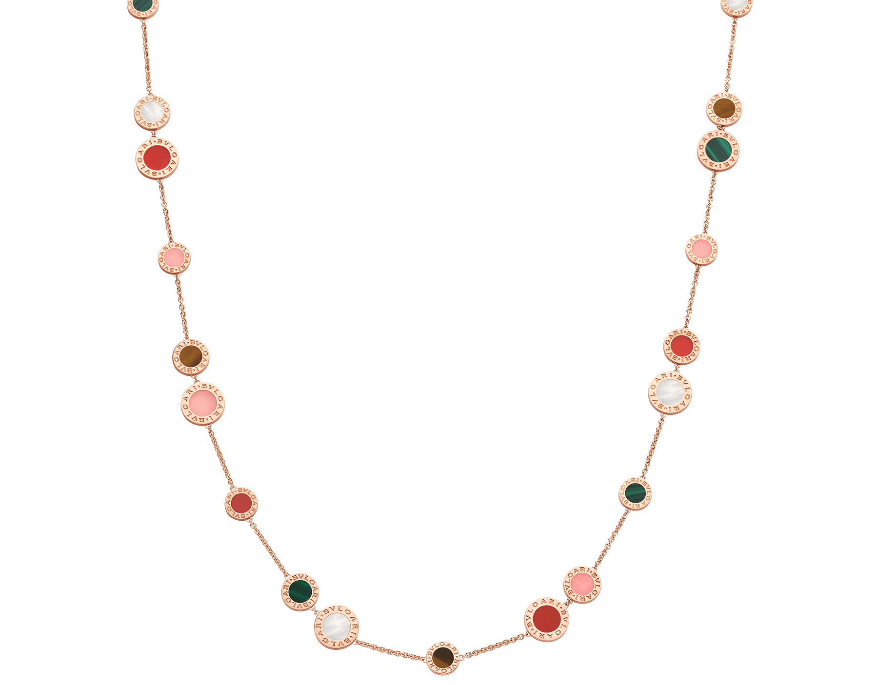 BVLGARI BVLGARI 18 kt rose gold sautoir set with mother-of-pearl, pink opal, tiger's eye, malachite and carnelian elements 356225 image 1
