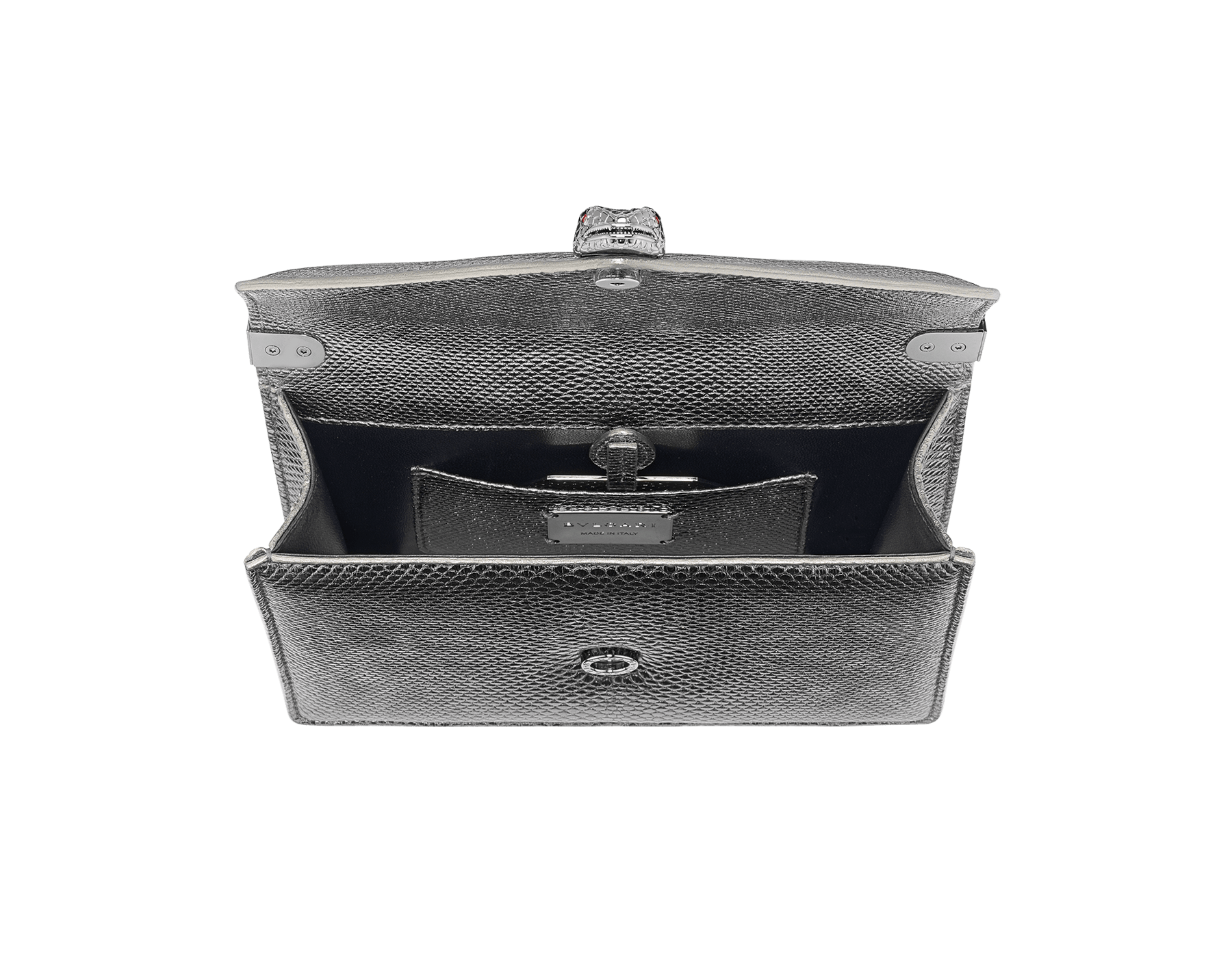 """Serpenti Forever"" multichain shoulder bag in ""Molten"" Charcoal Diamond grey karung skin with black nappa leather inner lining, offering a touch of radiance for the Winter Holidays. New Serpenti head closure in dark ruthenium-plated brass, complete with ruby-red enamel eyes. 290543 image 4"