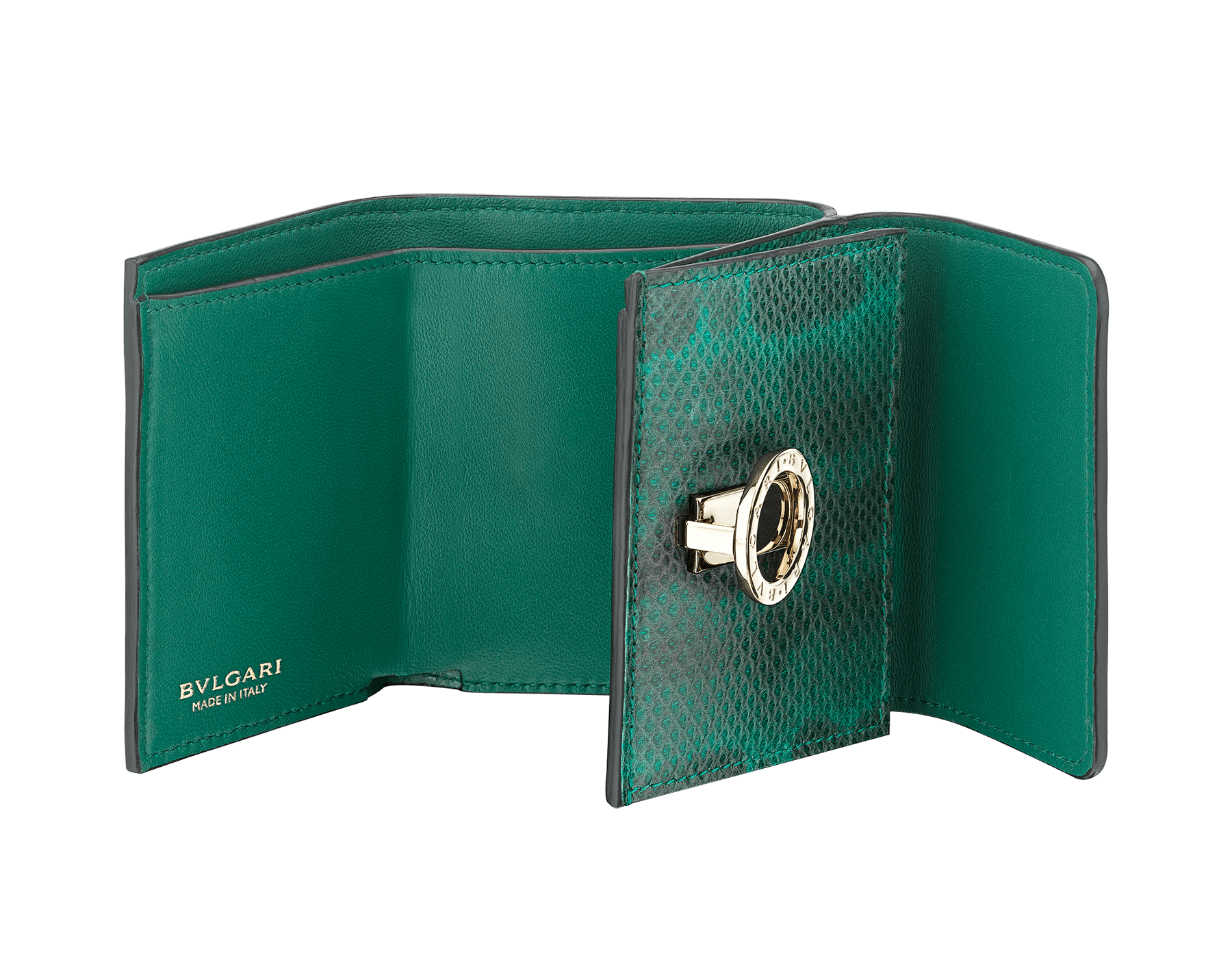 BVLGARI BVLGARI compact wallet in emerald green shiny karung skin and emerald green nappa leather. Iconic logo closure clip in light gold plated brass on the flap and press button closure on the body. 289350 image 2