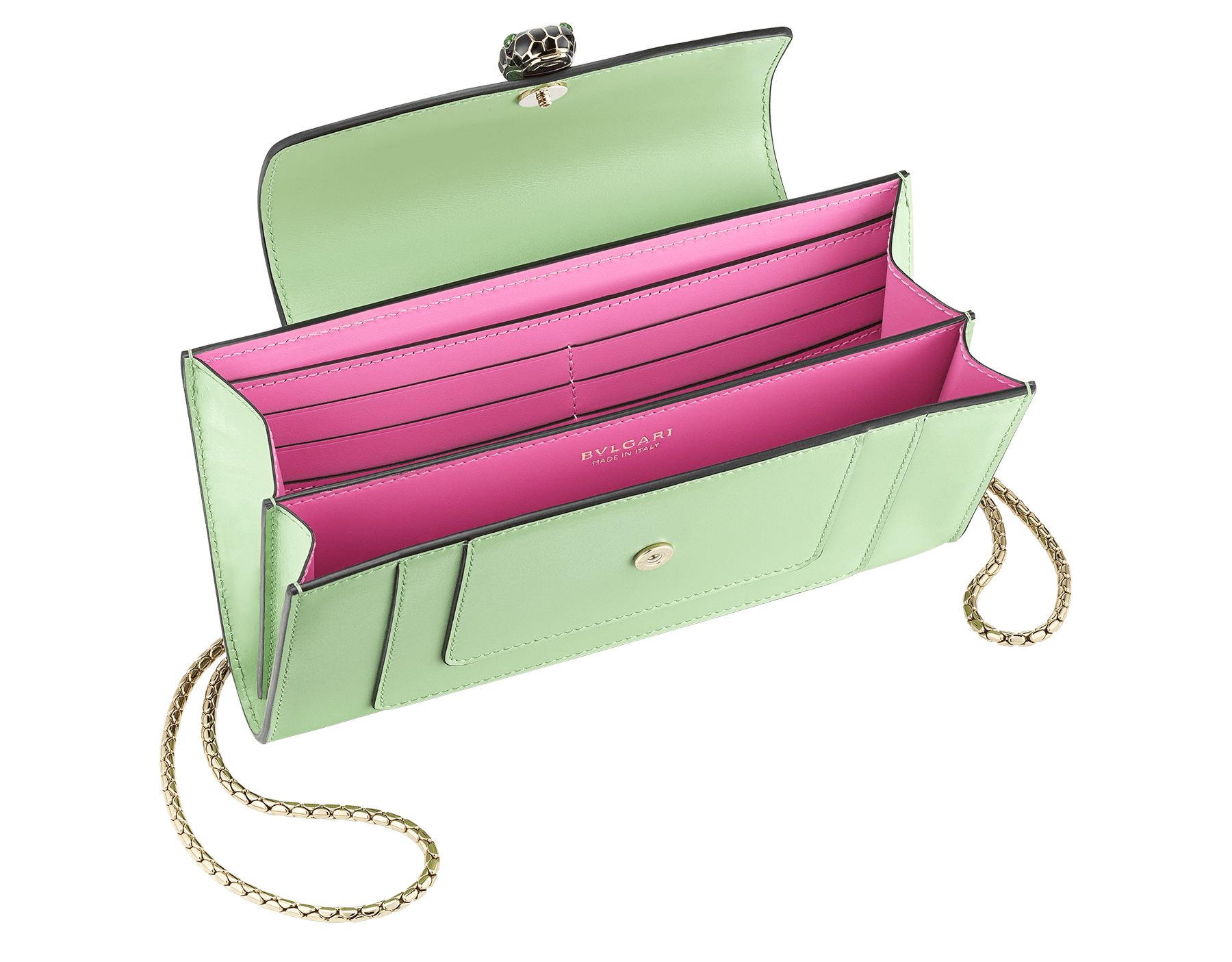 """""""Serpenti Forever"""" device case in mint and taffy quartz calf leather. Light gold plated brass snakehead closure in black and white enamel with green malachite eyes. 290013 image 2"""