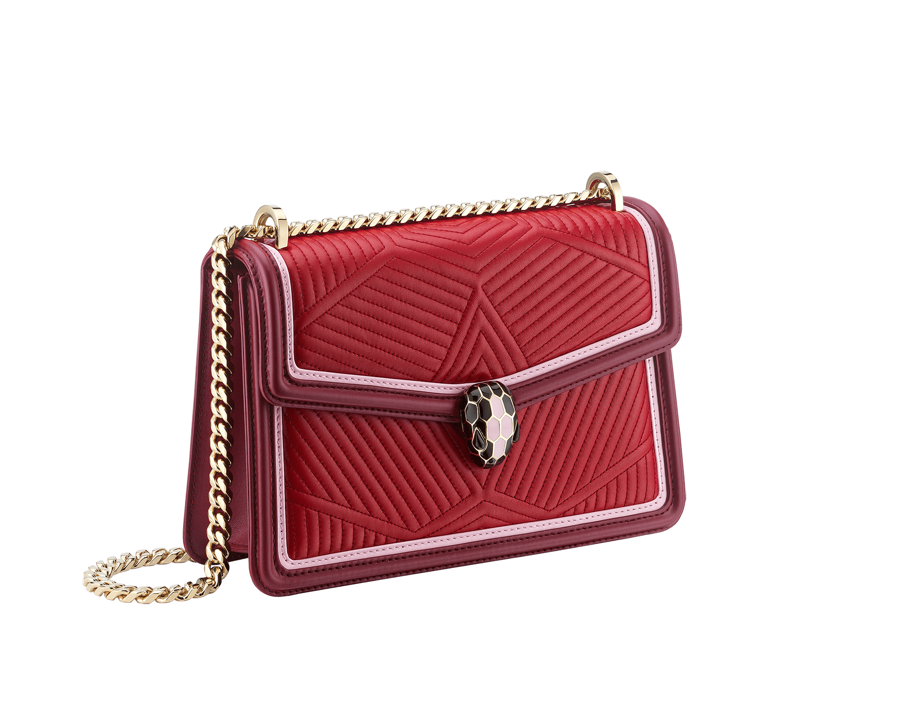 """Serpenti Diamond Blast"" shoulder bag in black quilted nappa leather body and white agate and jazzy tourmaline calf leather frames. Iconic snakehead closure in palladium plated brass enriched with black and jazzy tourmaline enamel and black onyx eyes. 922-FQDb image 2"