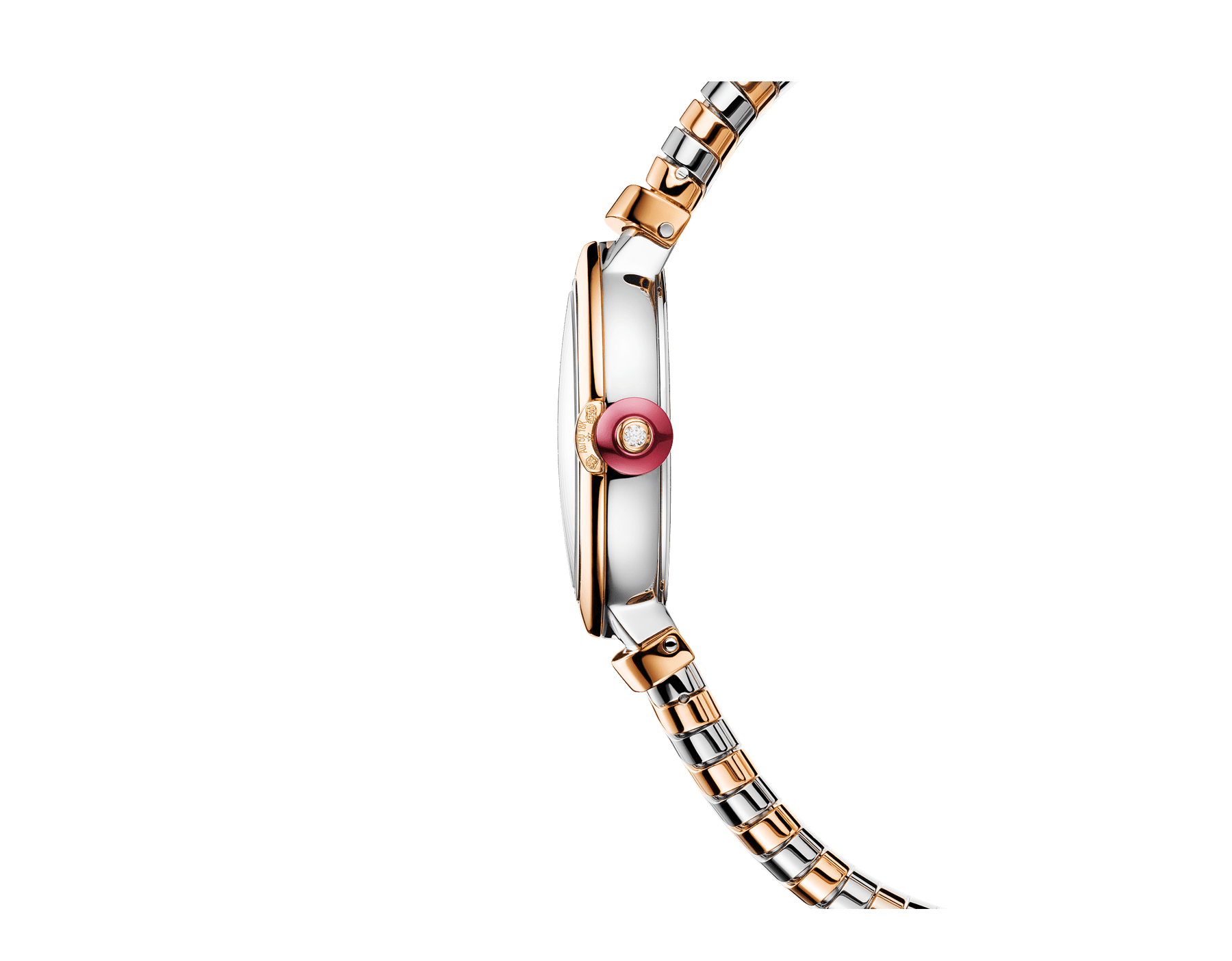 LVCEA Tubogas watch in 18 kt rose gold and stainless steel case and tubogas bracelet, with white mother-of-pearl dial and diamond indexes 102952 image 2